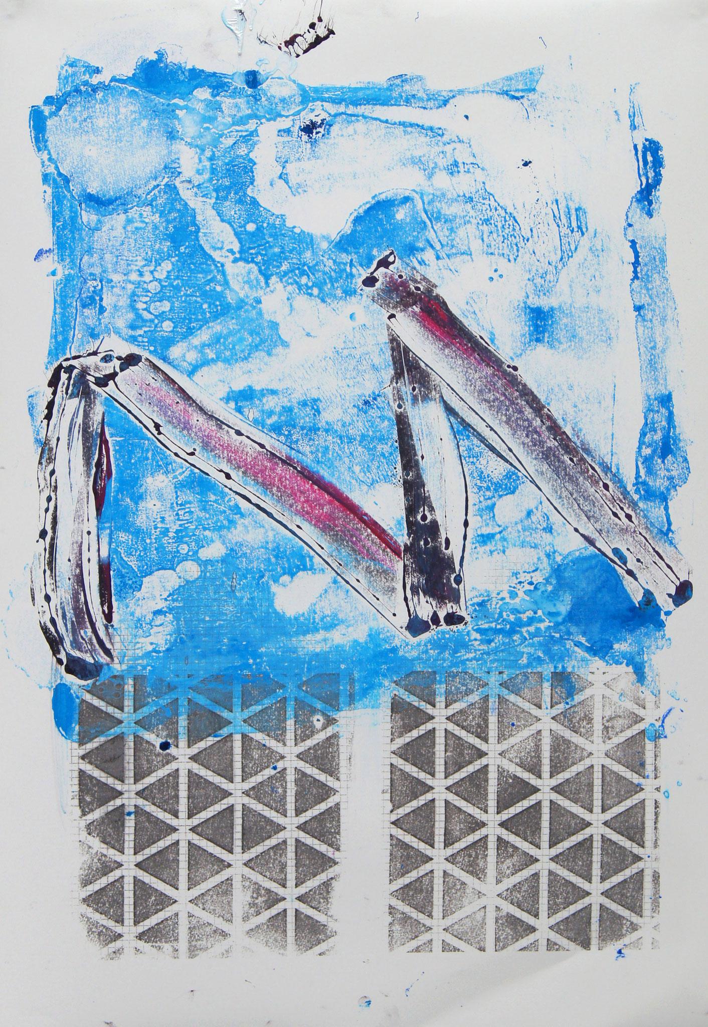 Emma und Paul  Mischtechnik aus Monotypie und Transferdruck, 53x73 cm