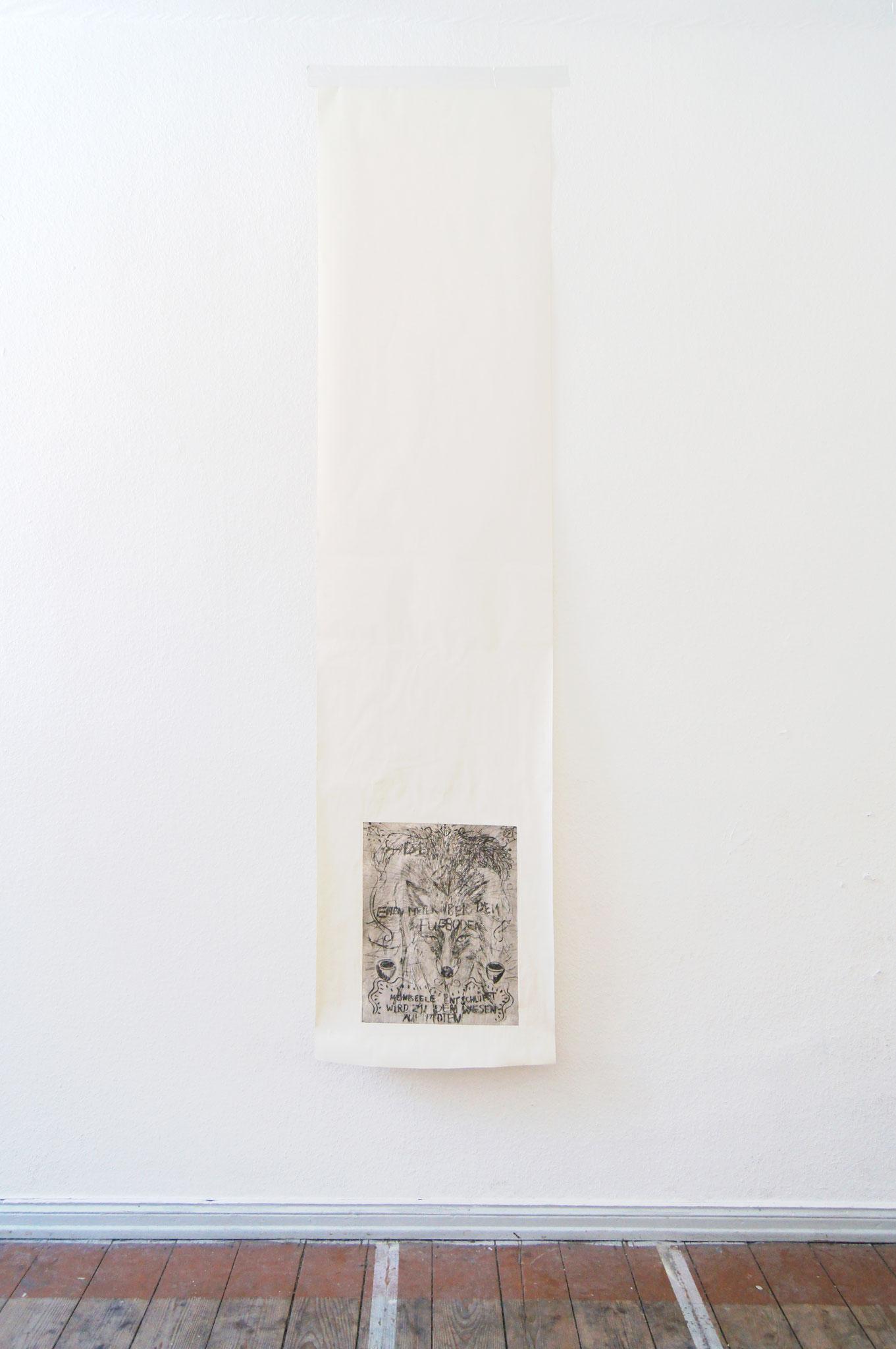 Der Umzug,  Radierung auf Makulatur, silbernes Klebeband, 53x2250 cm