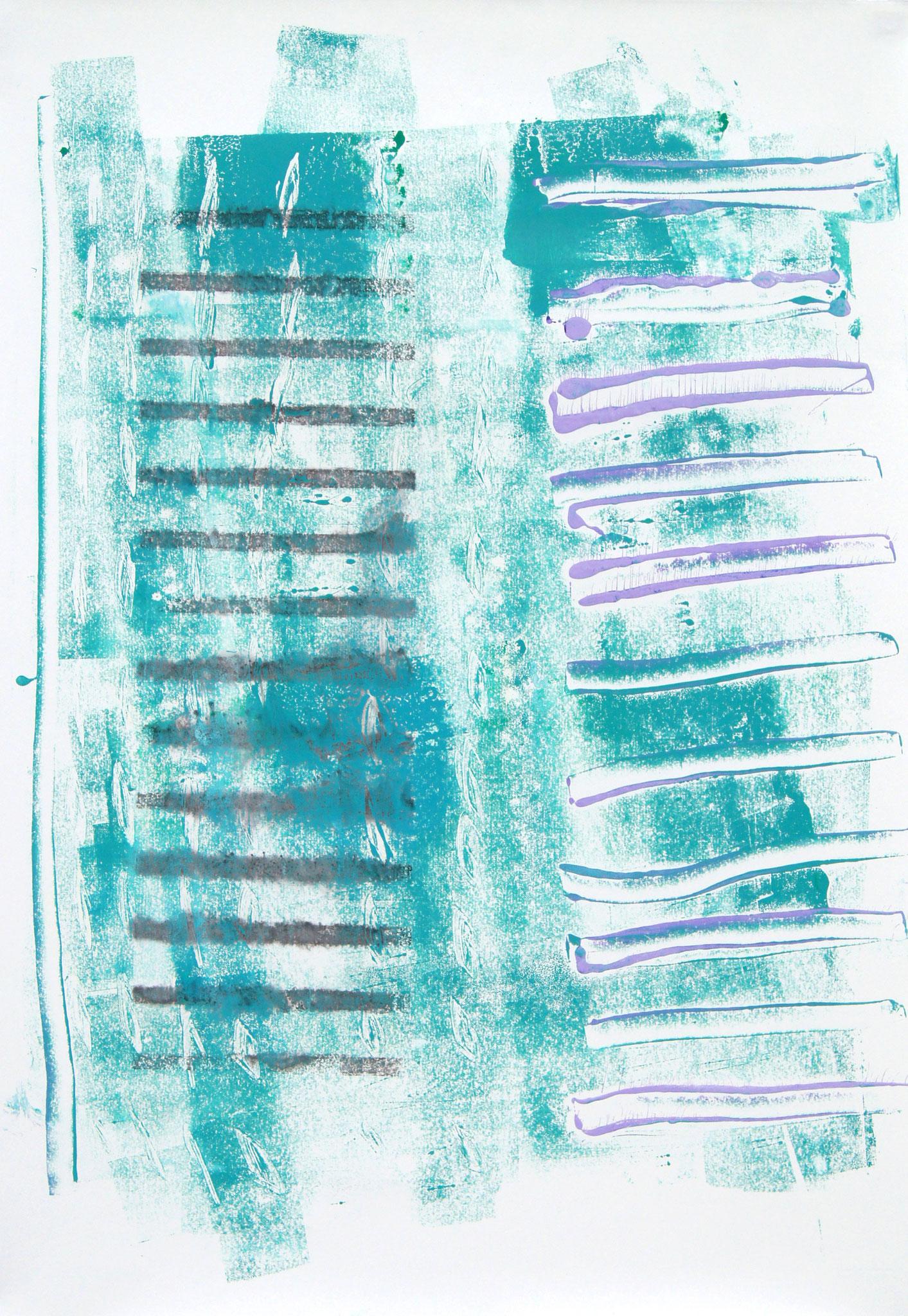 Helge und Julie  Mischtechnik aus Monotypie und Transferdruck, 53x77 cm