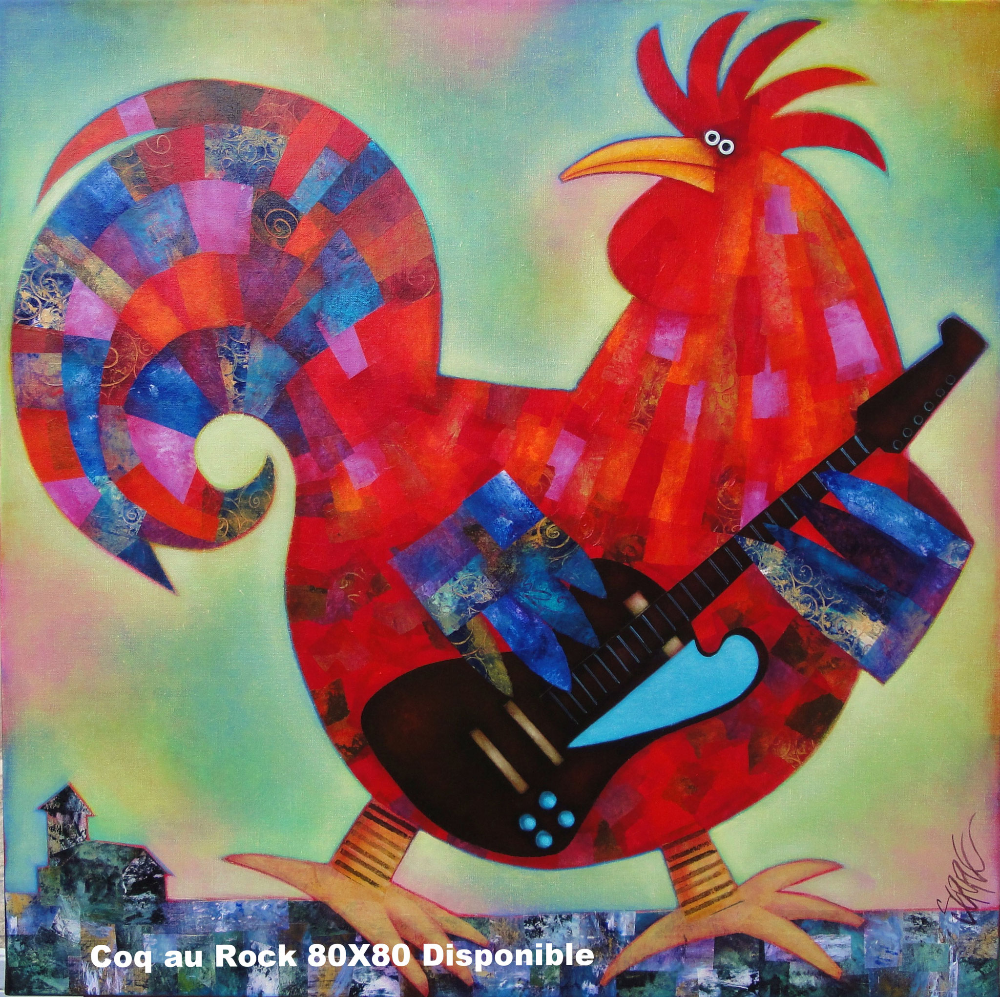 Coq au rock, 80X80 disponible