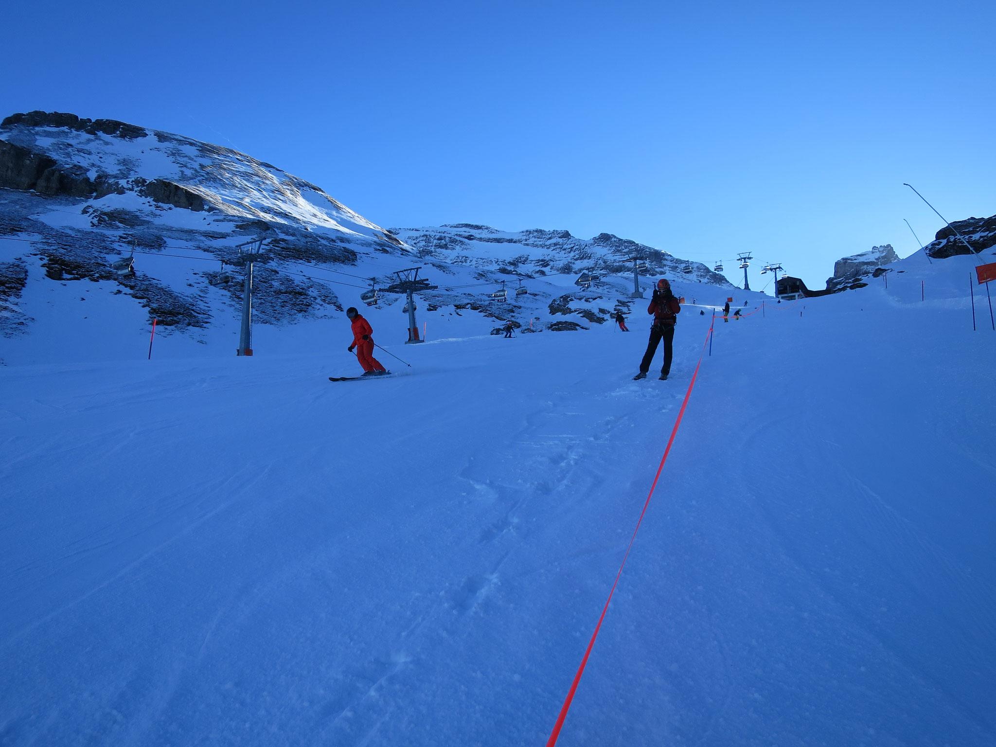 Abstieg auf der Skipiste :-)