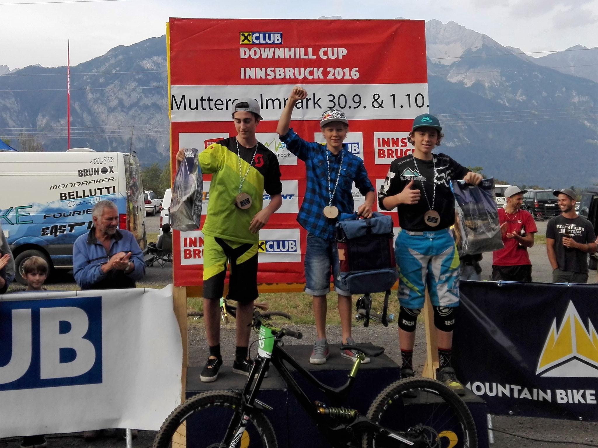 1. Platz auf der Muttereralm beim 2. Lauf zum Downhill Cup U17  Innsbruck 2016