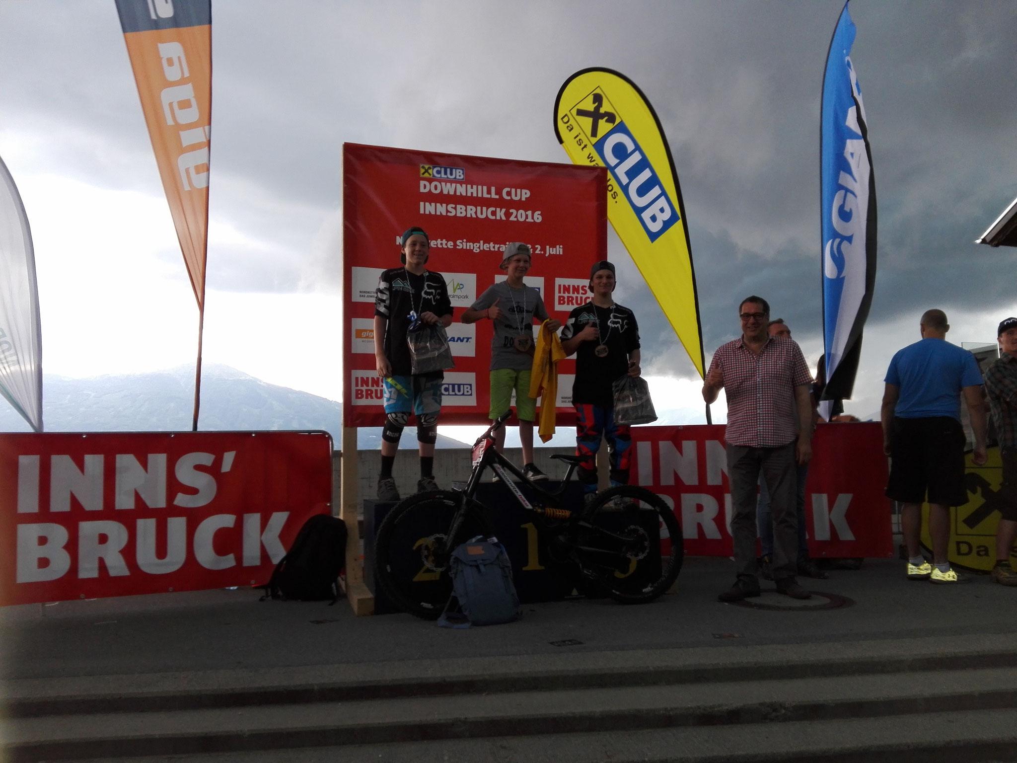 1. Platz beim Nordketten Downhill  U17 Innsbruck 2016