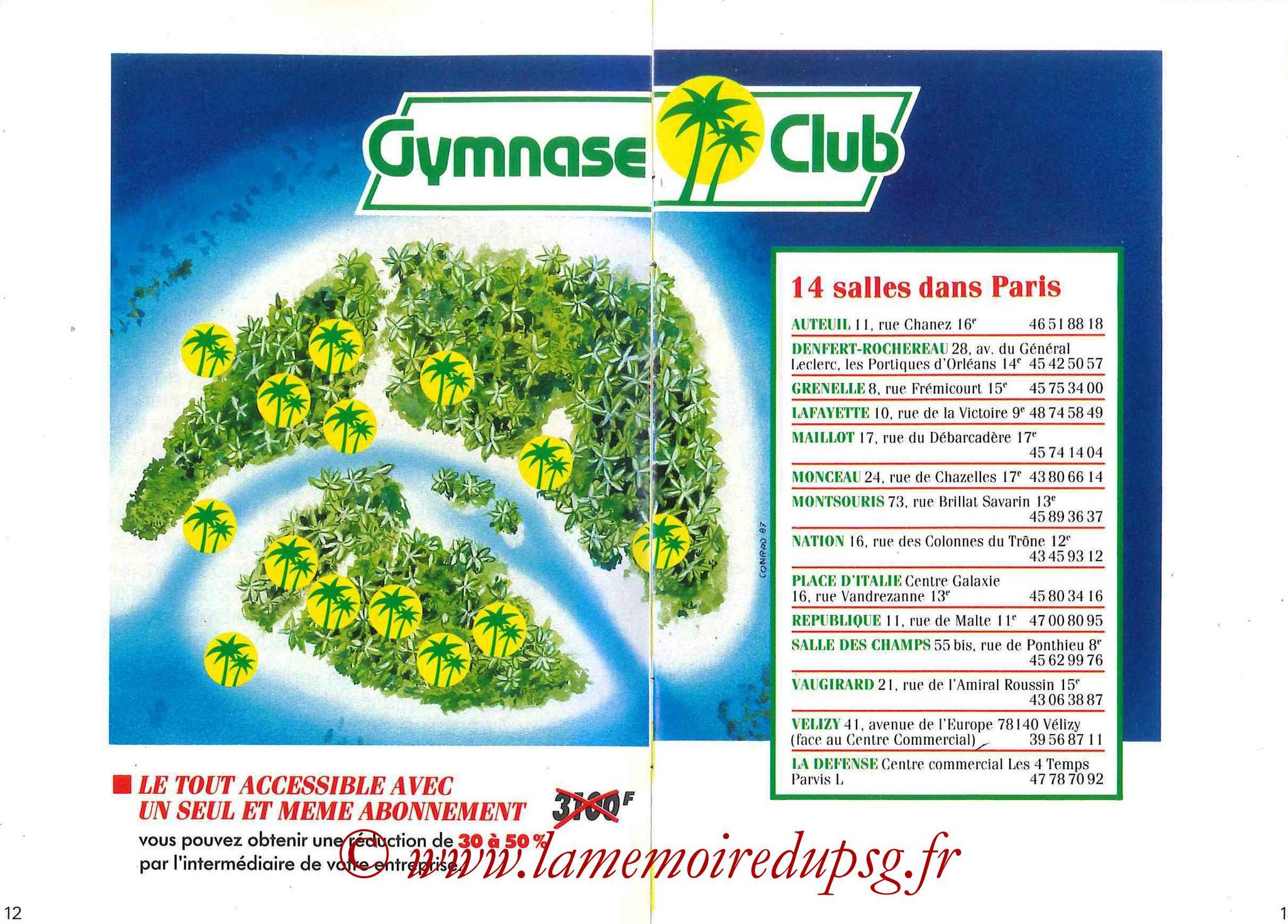 1987-88 - Passeport Abonné du PSG - Pages 12 et 13