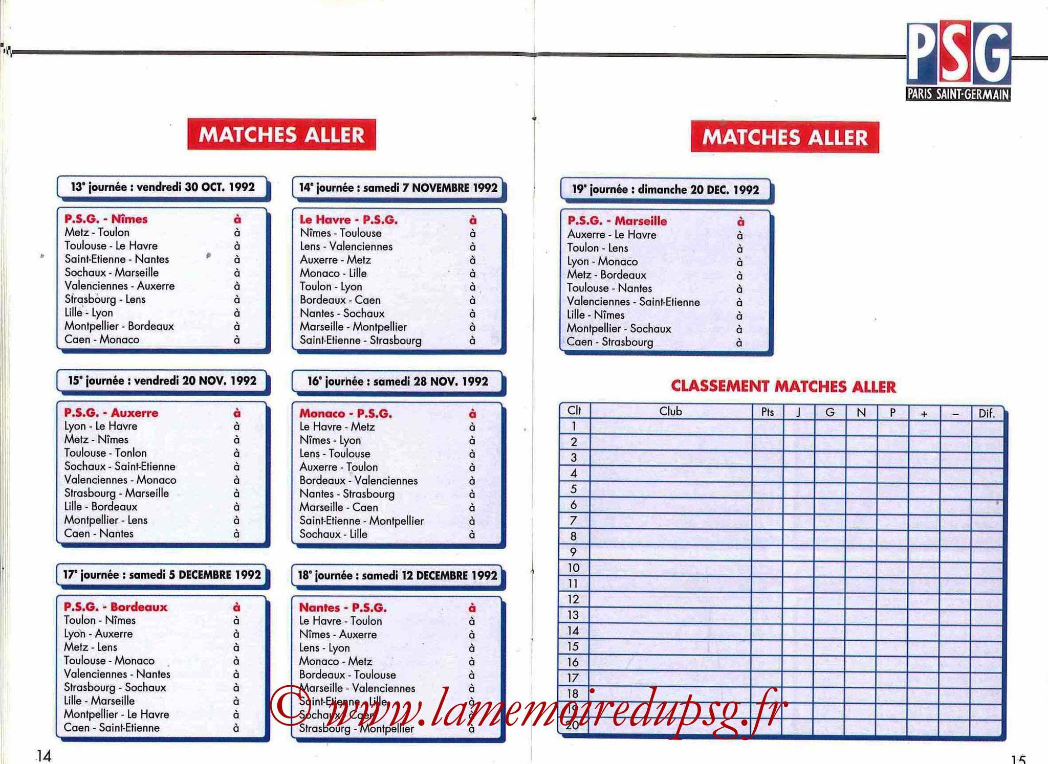 1992-93 - Guide de la Saison PSG - Pages 14 et 15