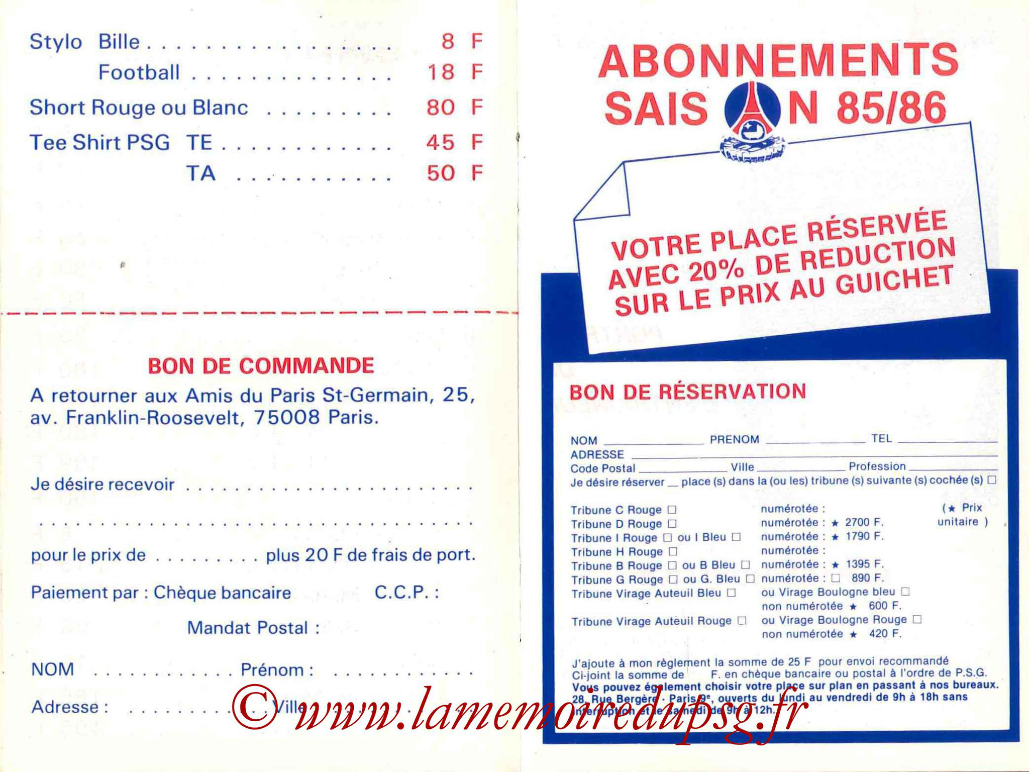 1985-86 - Guide de la Saison PSG - Pages 14 et 15