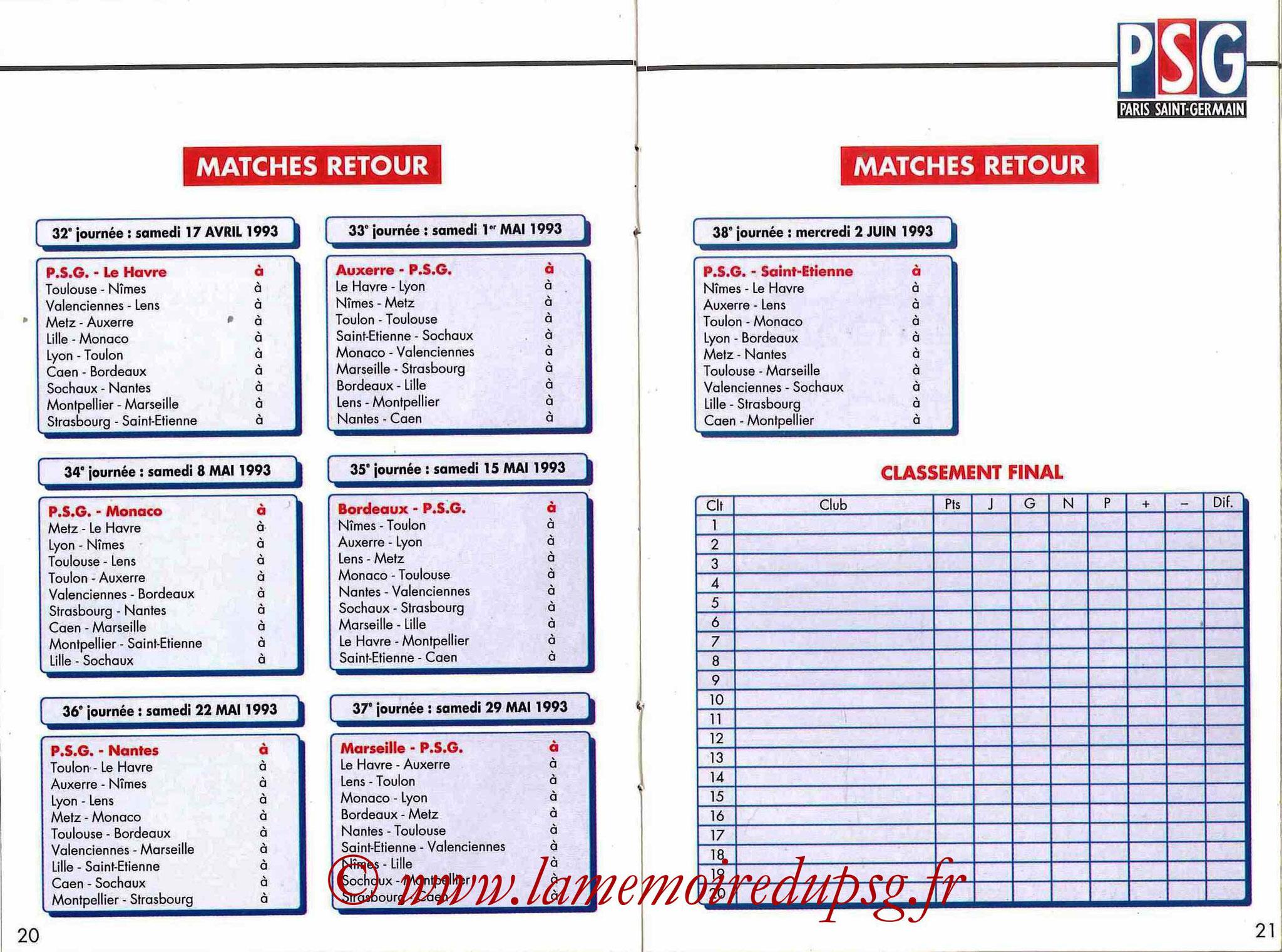 1992-93 - Guide de la Saison PSG - Pages 20 et 21