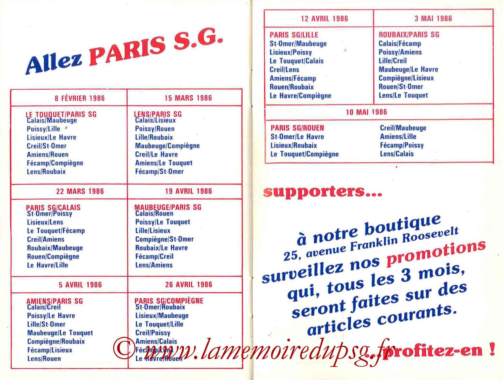 1985-86 - Guide de la Saison PSG - Pages 30 et 31