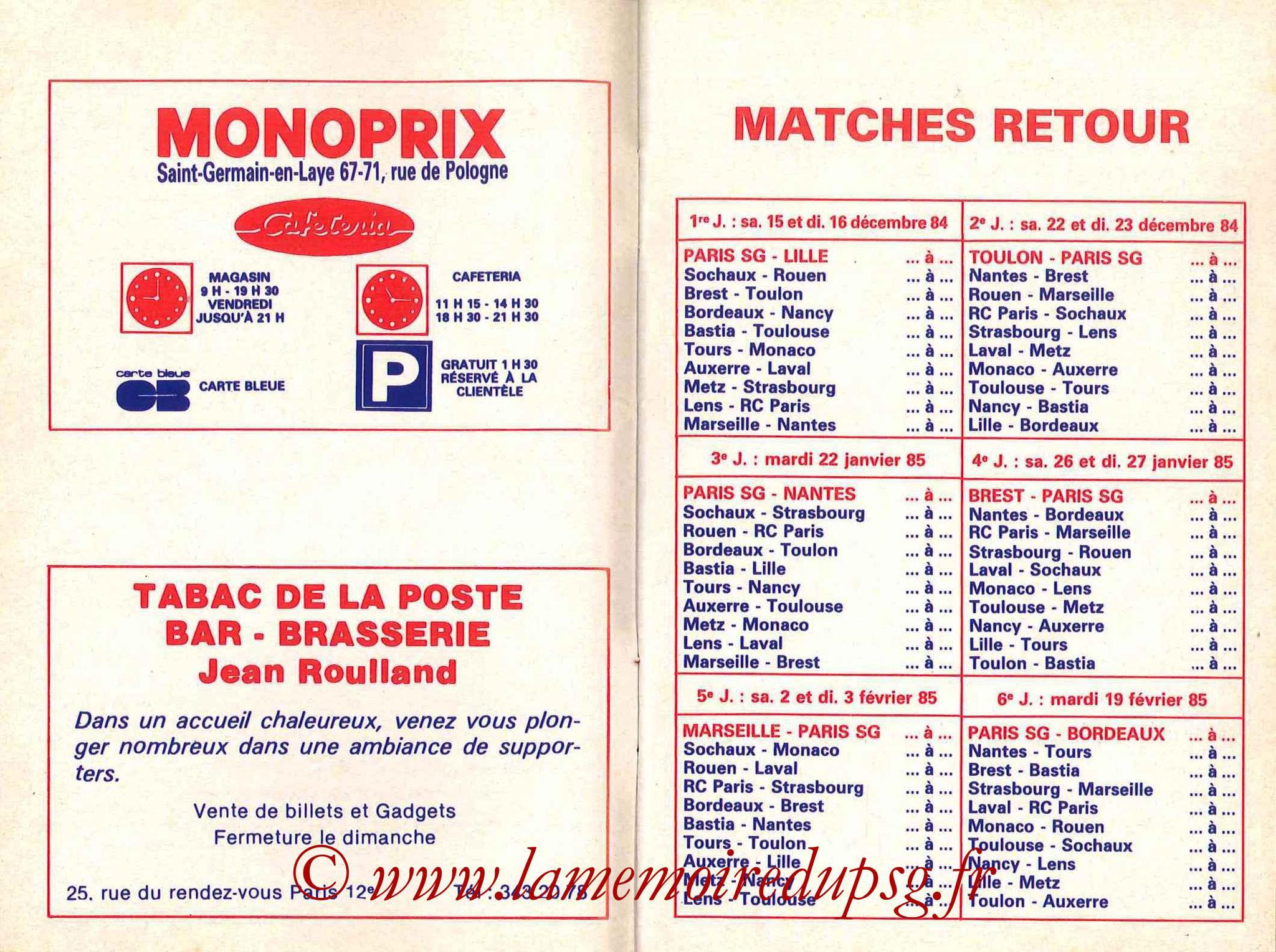 1984-85 - Guide de la Saison PSG - Pages 8 et 9