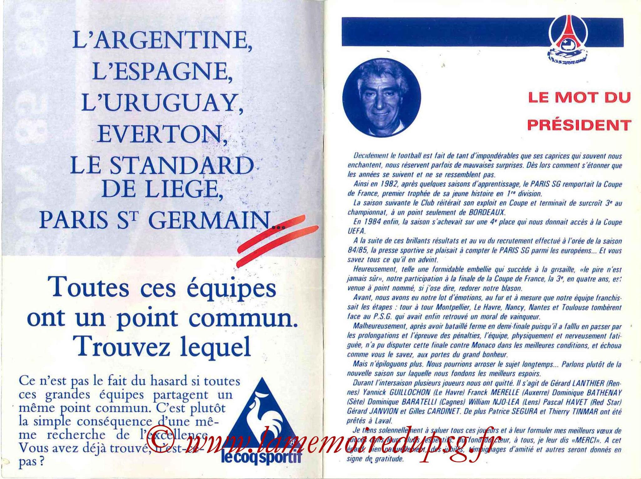 1985-86 - Guide de la Saison PSG - Pages 2 et 3
