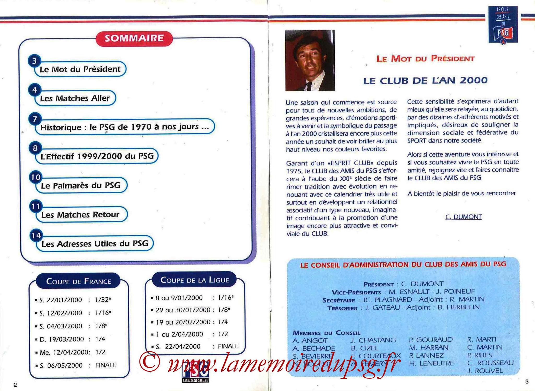 1999-00 - Guide de la Saison PSG - Pages 2 et 3