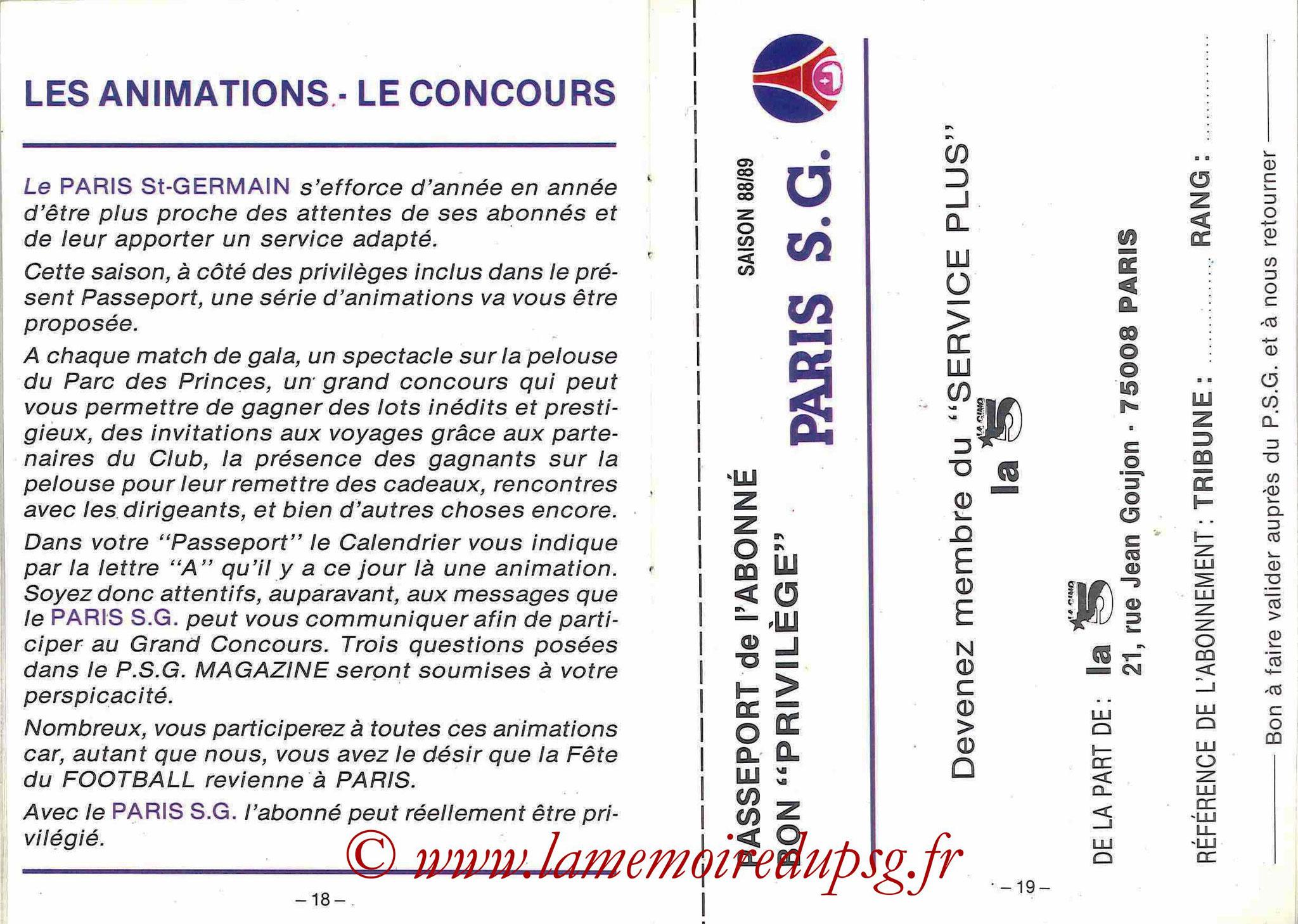 1988-89 - Passeport Abonné du PSG - Pages 18 et 19