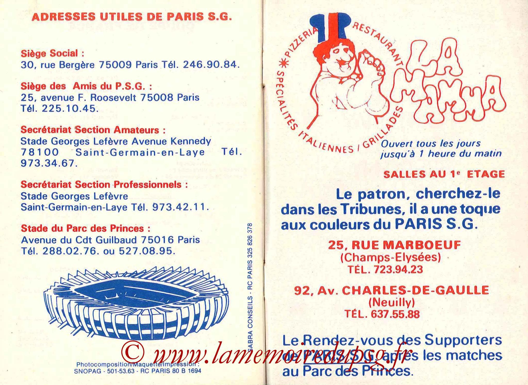 1983-84 - Guide de la Saison PSG - Pages 26 et 27
