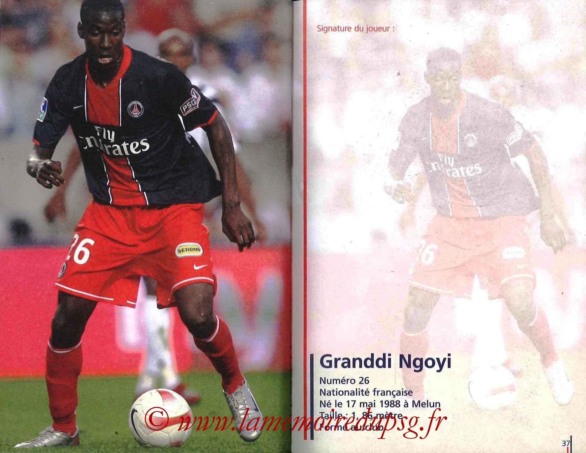 2007-08 - Guide de la Saison PSG - Pages 36 et 37 - Granddi NGOYI