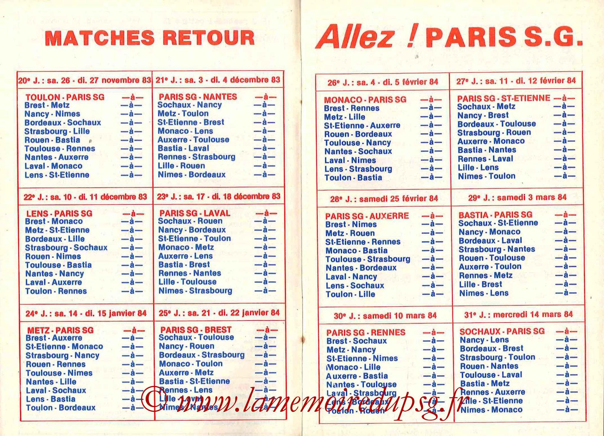 1983-84 - Guide de la Saison PSG - Pages 8 et 9