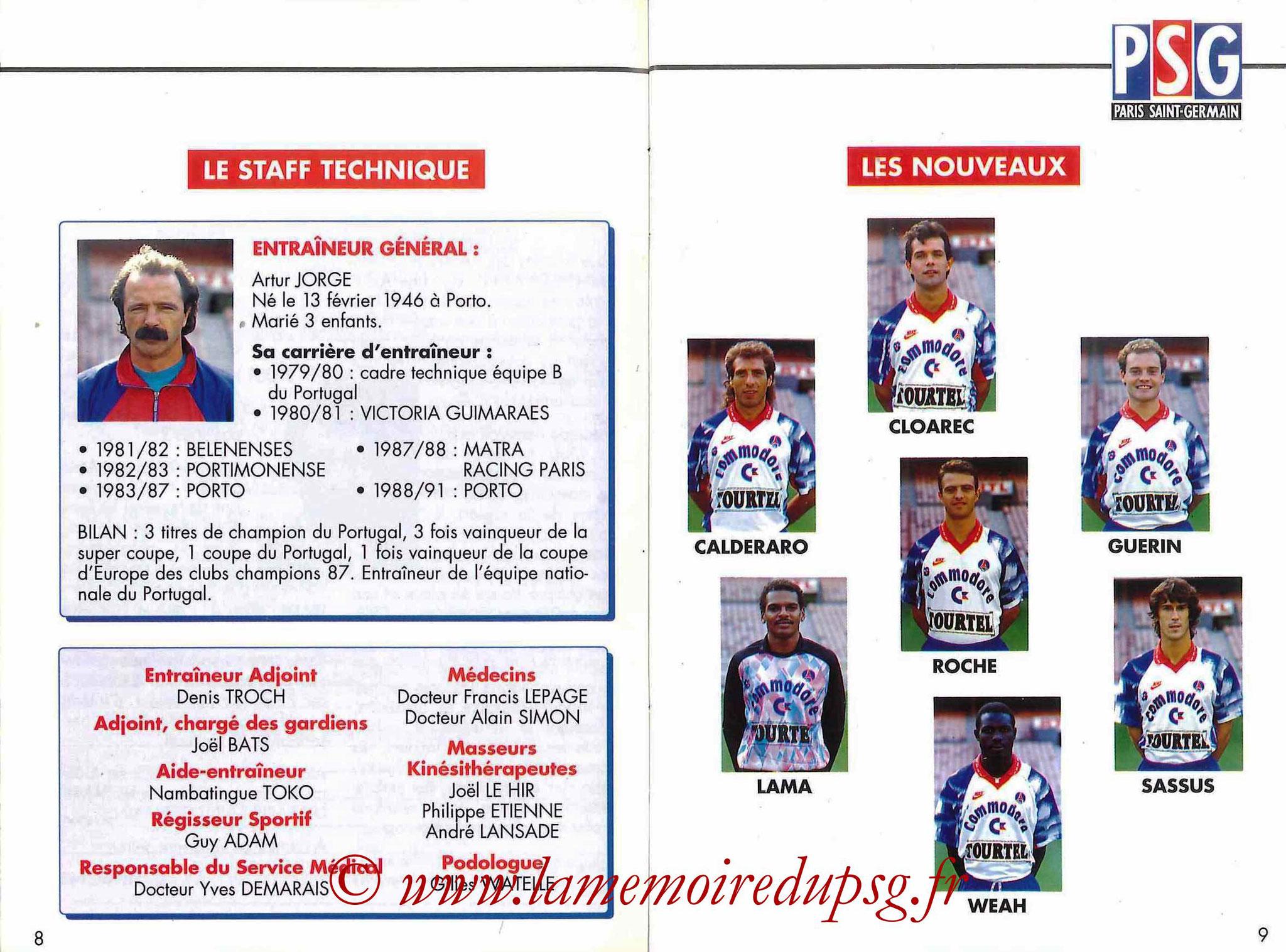 1992-93 - Guide de la Saison PSG - Pages 8 et 9