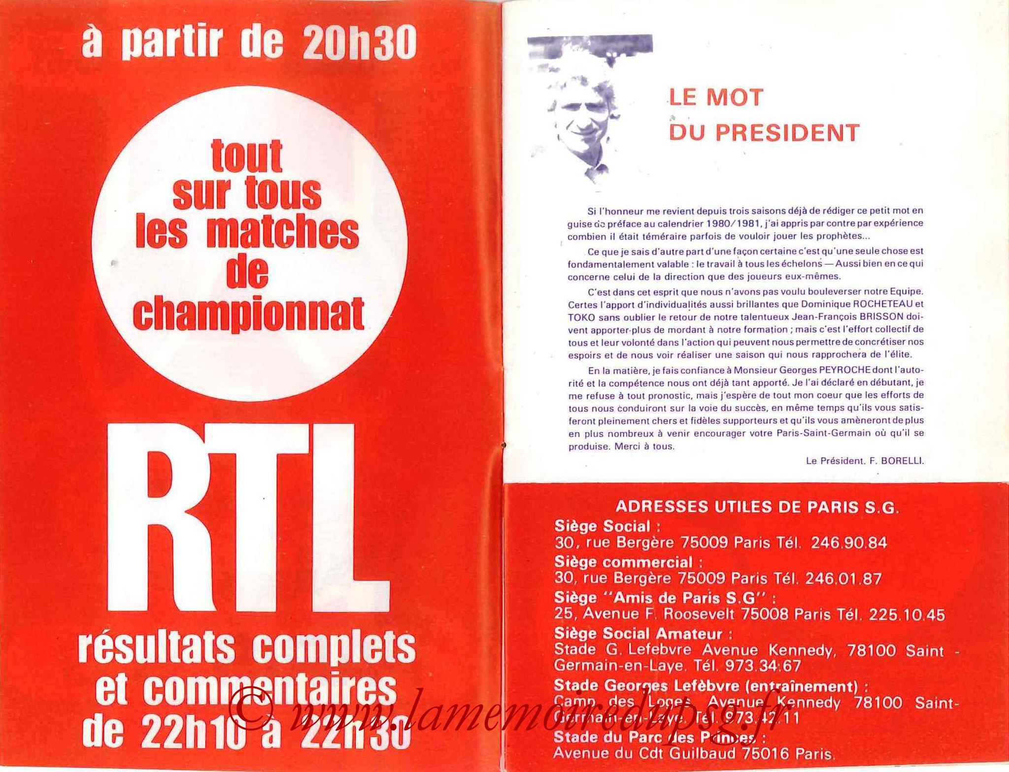 1980-81 - Guide de la Saison PSG - Pages 2 et 3