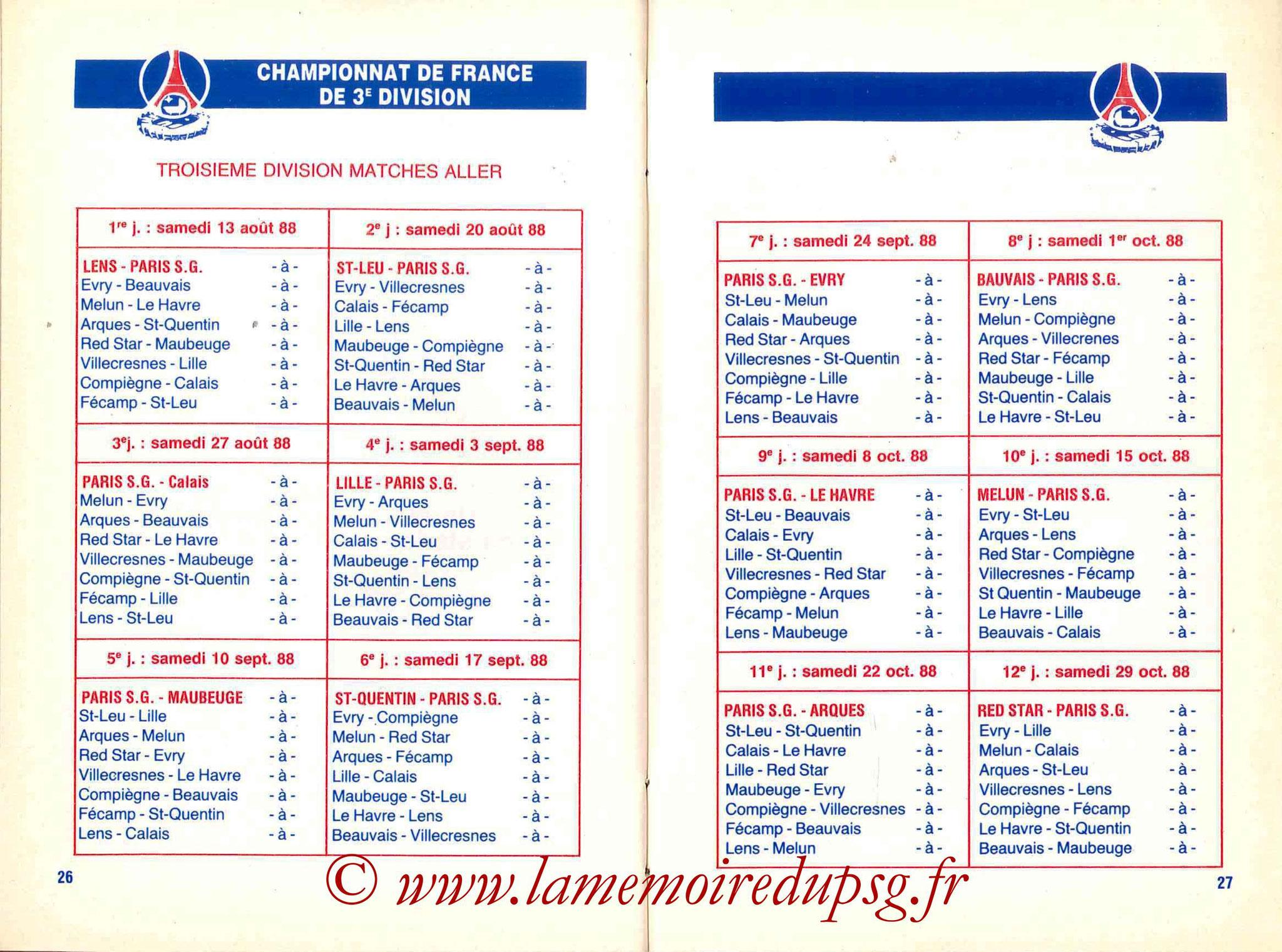 1988-89 - Guide de la Saison PSG - Pages 26 et 27