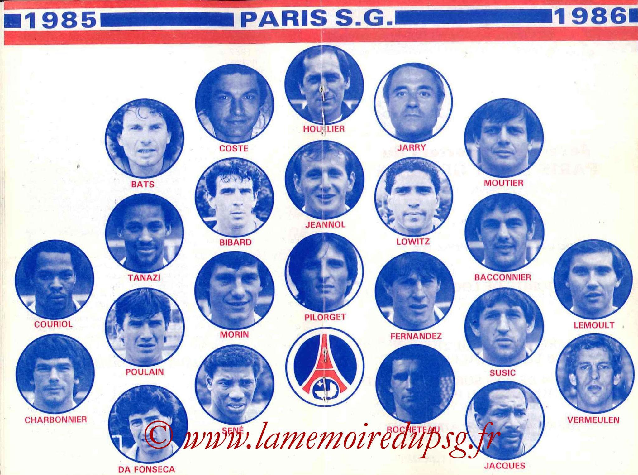 1985-86 - Guide de la Saison PSG - Pages 18 et 19