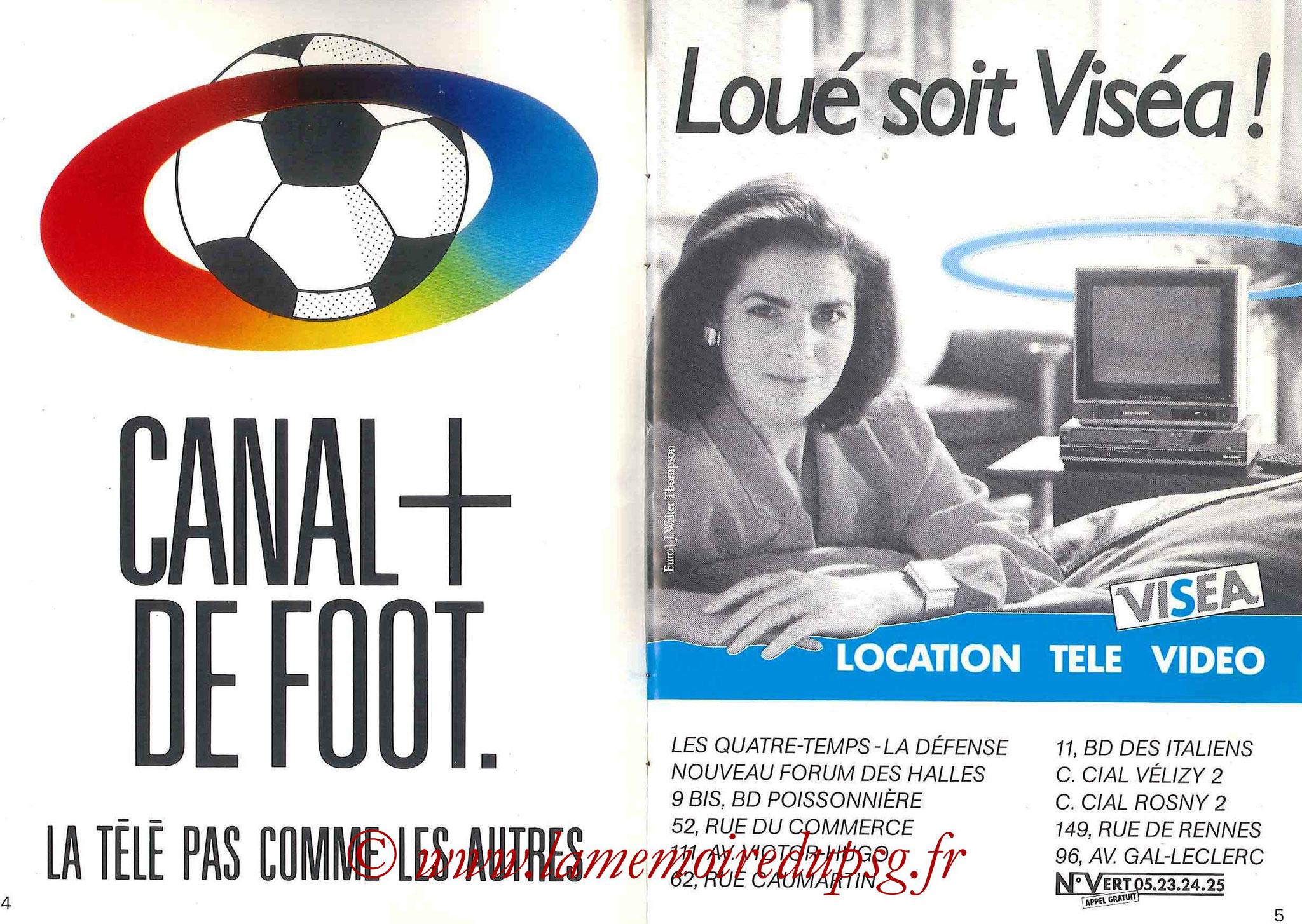 1987-88 - Passeport Abonné du PSG - Pages 4 et 5