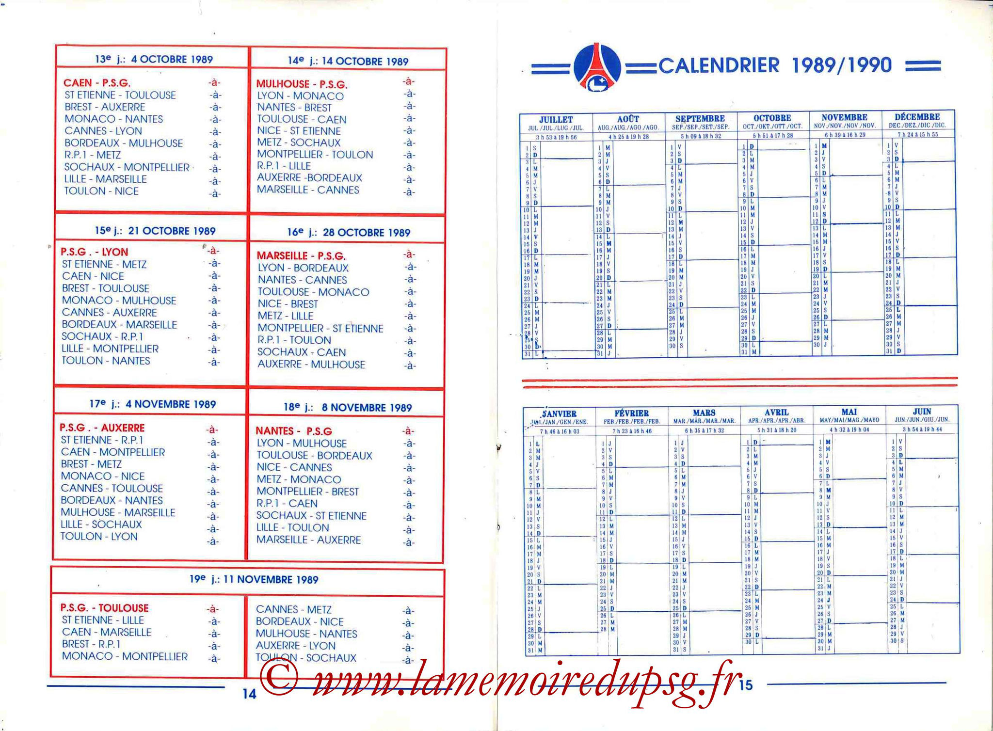 1989-90 - Guide de la Saison PSG - Pages 14 et 15