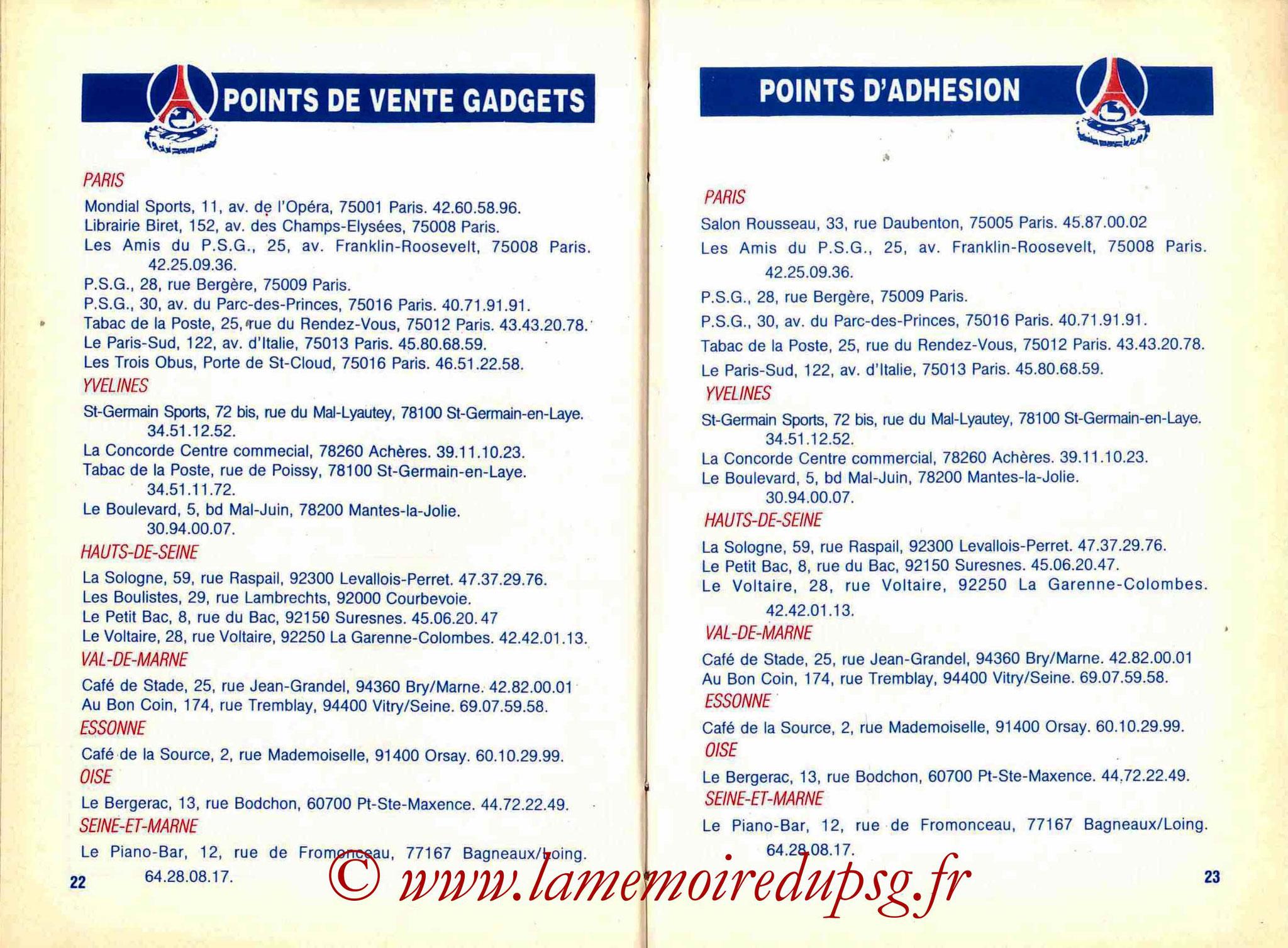 1988-89 - Guide de la Saison PSG - Pages 22 et 23