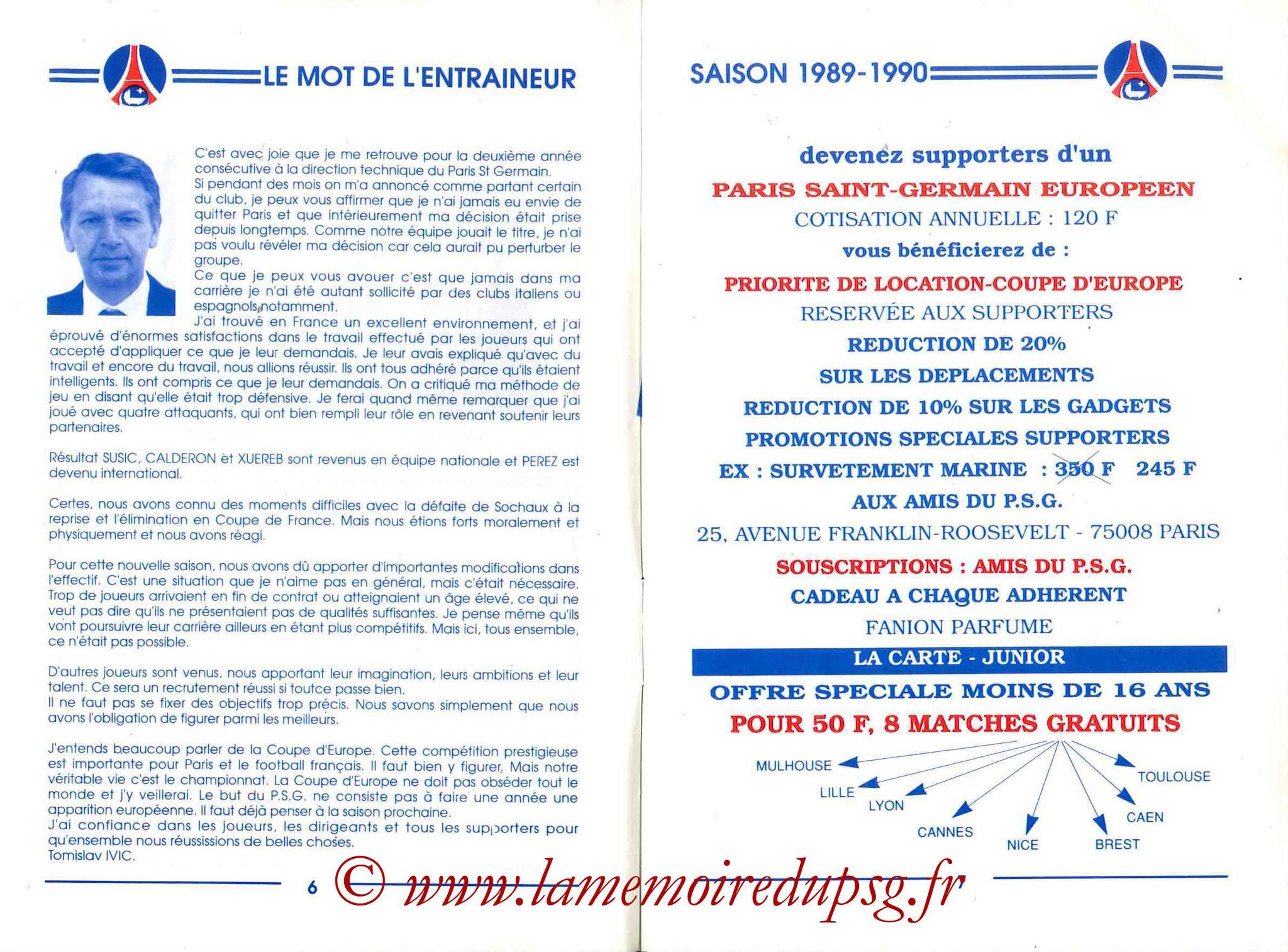 1989-90 - Guide de la Saison PSG - Pages 6 et 7
