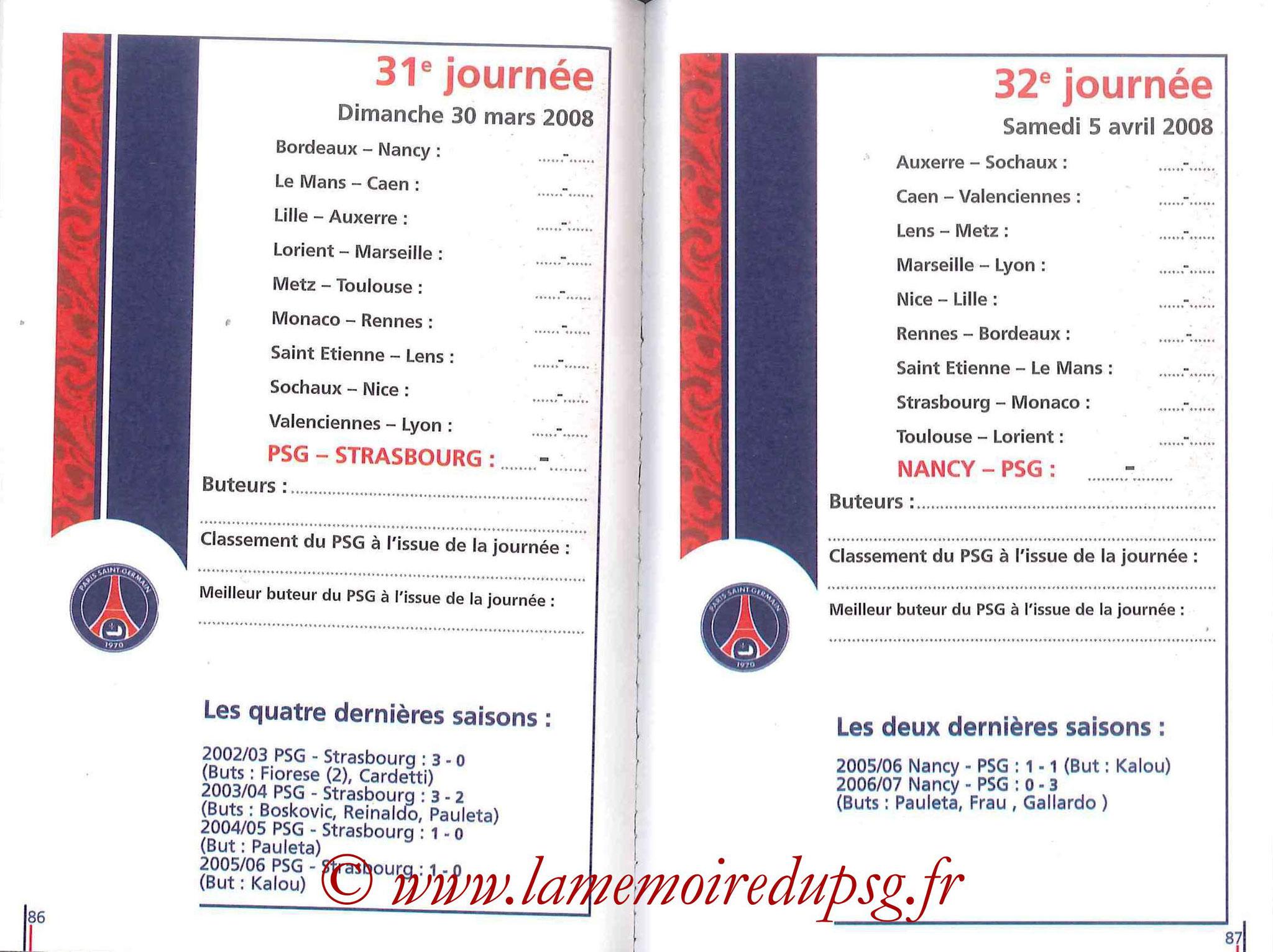 2007-08 - Guide de la Saison PSG - Pages 86 et 87