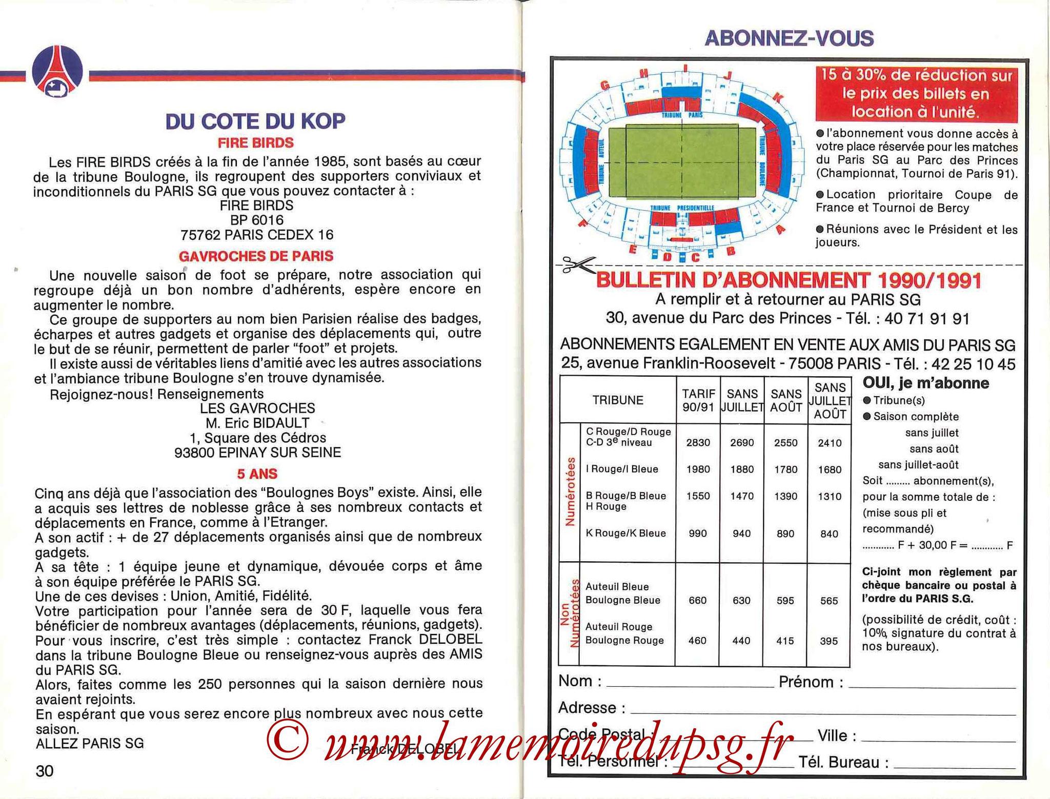 1990-91 - Guide de la Saison PSG - Pages 30 et 31