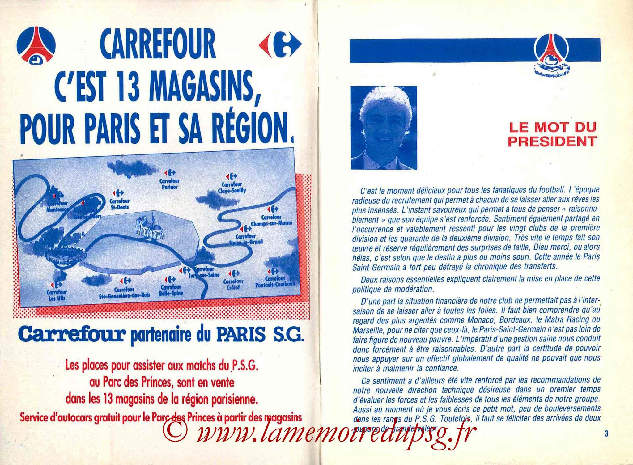 1988-89 - Guide de la Saison PSG - Pages 2 et 3