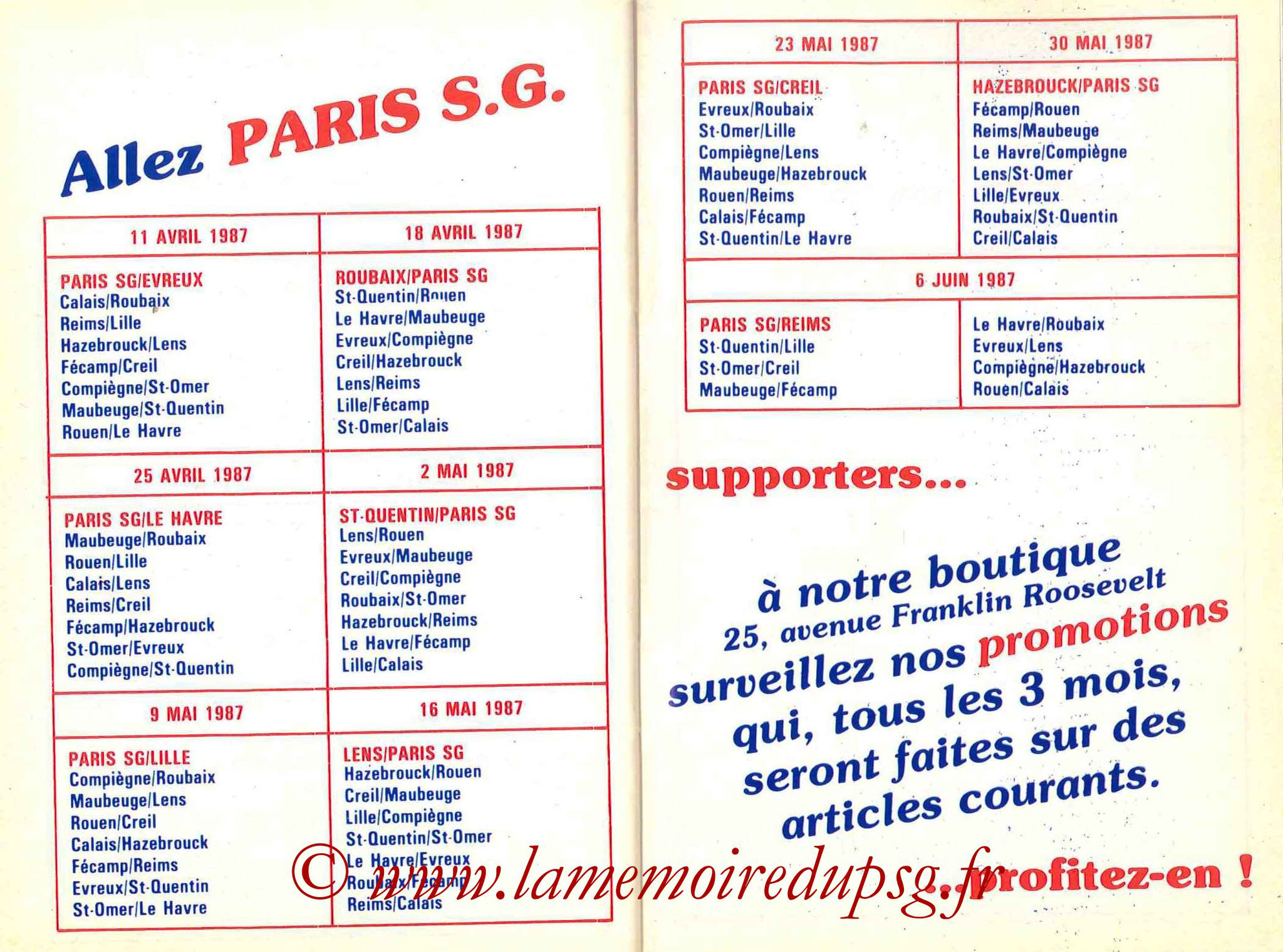 1986-87 - Guide de la Saison PSG - Pages 30 et 31