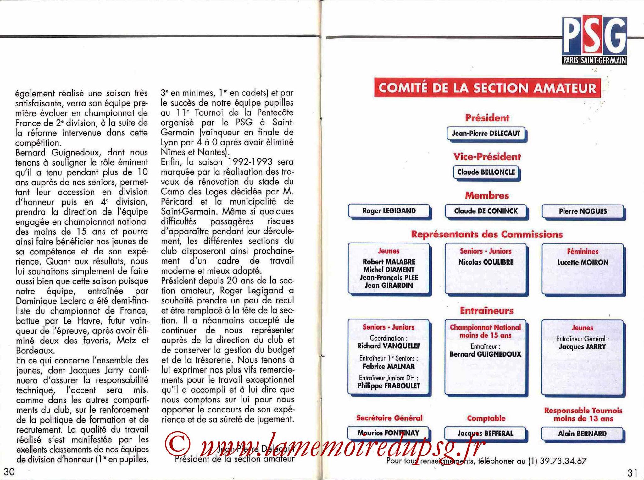 1992-93 - Guide de la Saison PSG - Pages 30 et 31