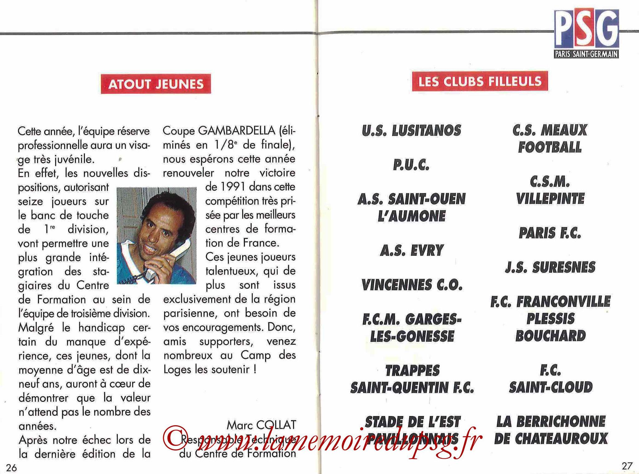 1992-93 - Guide de la Saison PSG - Pages 26 et 27