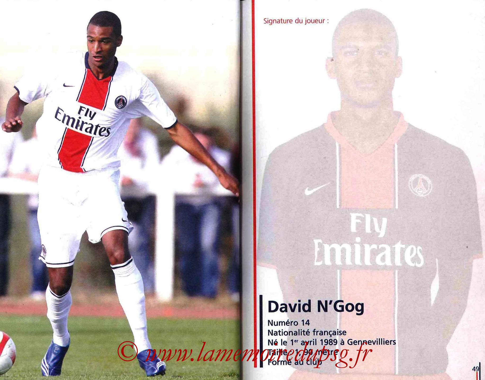 2007-08 - Guide de la Saison PSG - Pages 48 et 49 - David N'GOG