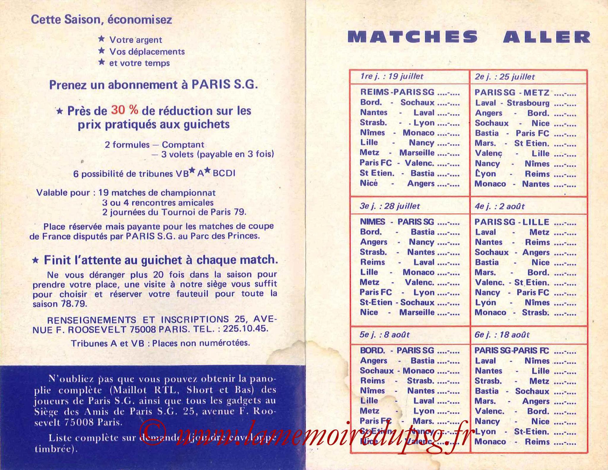 1978-79 - Guide de la Saison PSG - Pages 4 et 5