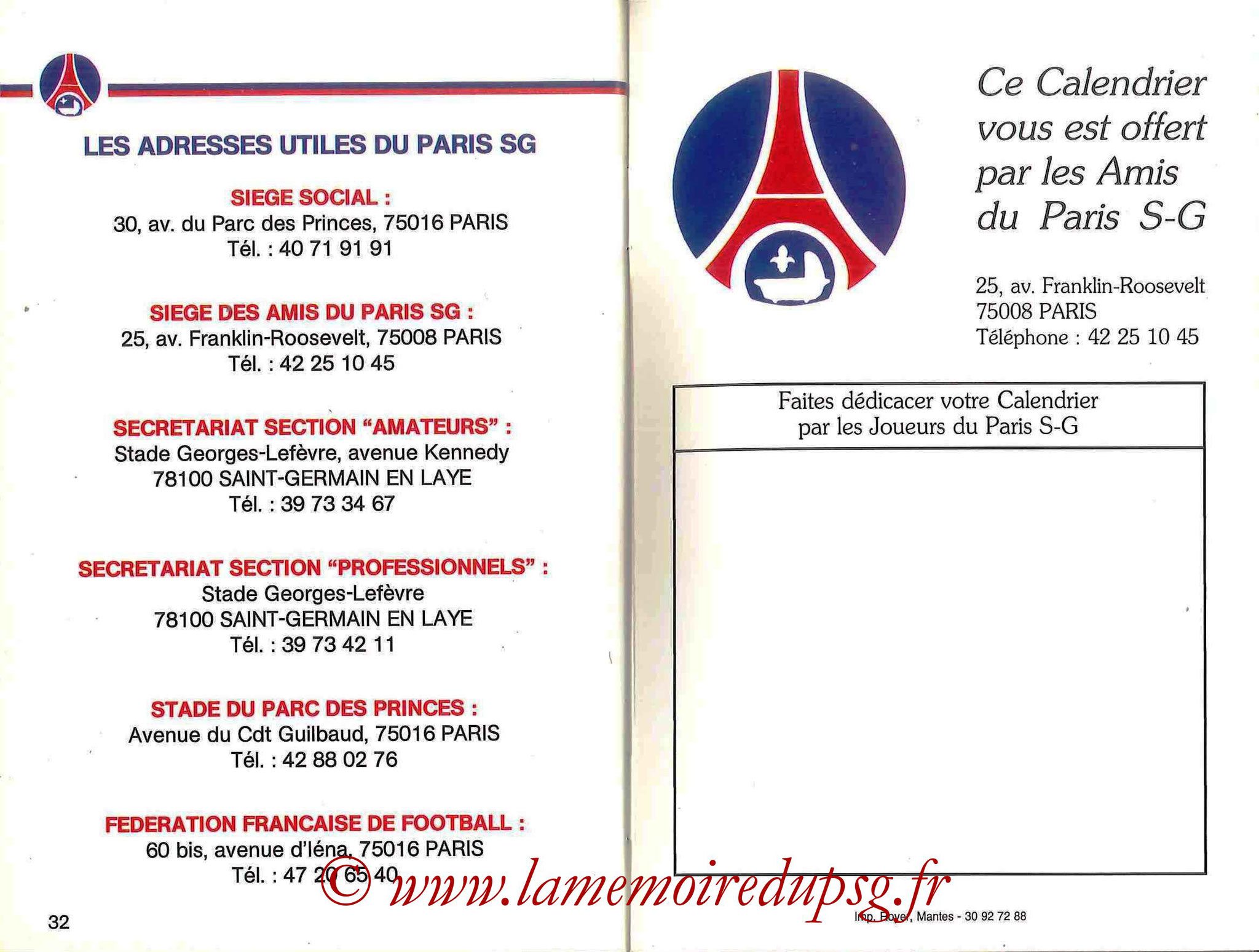 1990-91 - Guide de la Saison PSG - Pages 32 et 33