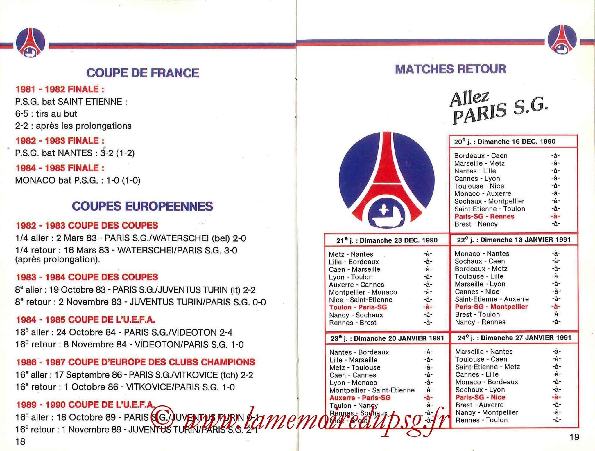 1990-91 - Guide de la Saison PSG - Pages 18 et 19
