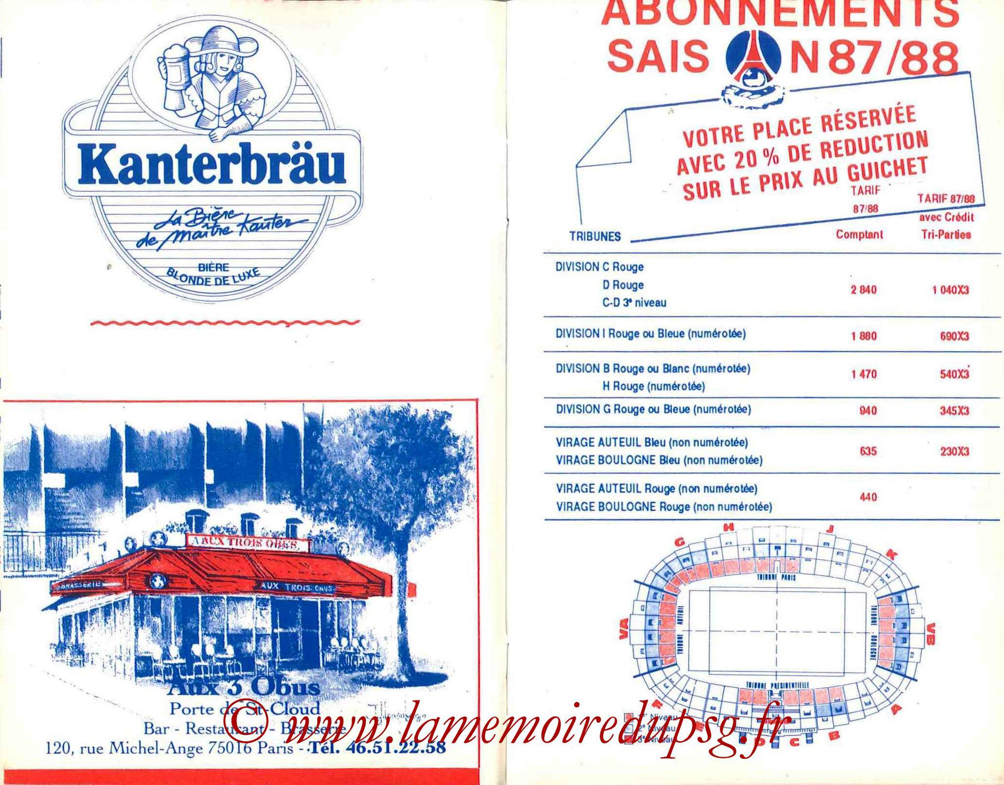 1987-88 - Guide de la Saison PSG - Pages 14 et 15