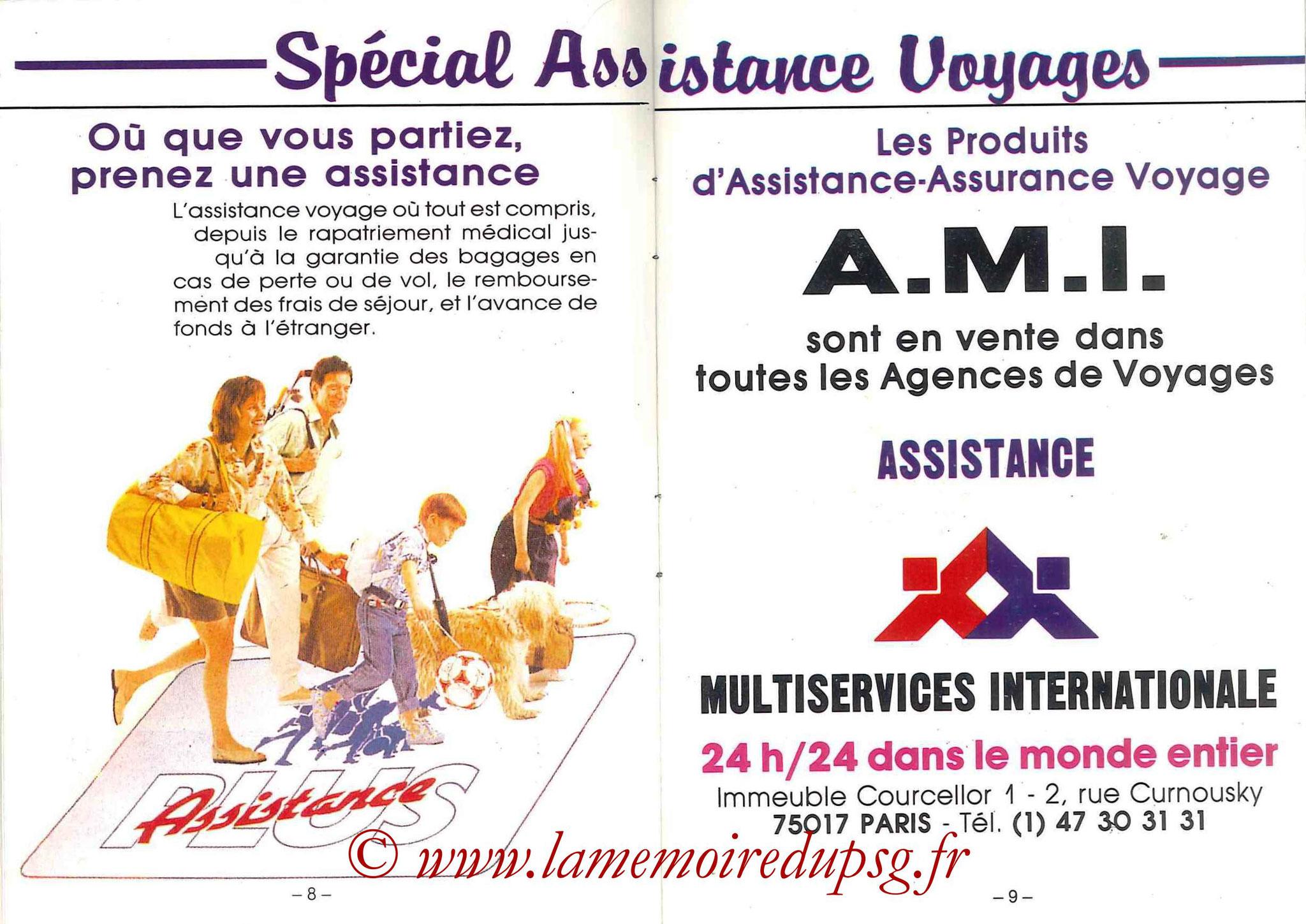 1988-89 - Passeport Abonné du PSG - Pages 8 et 9