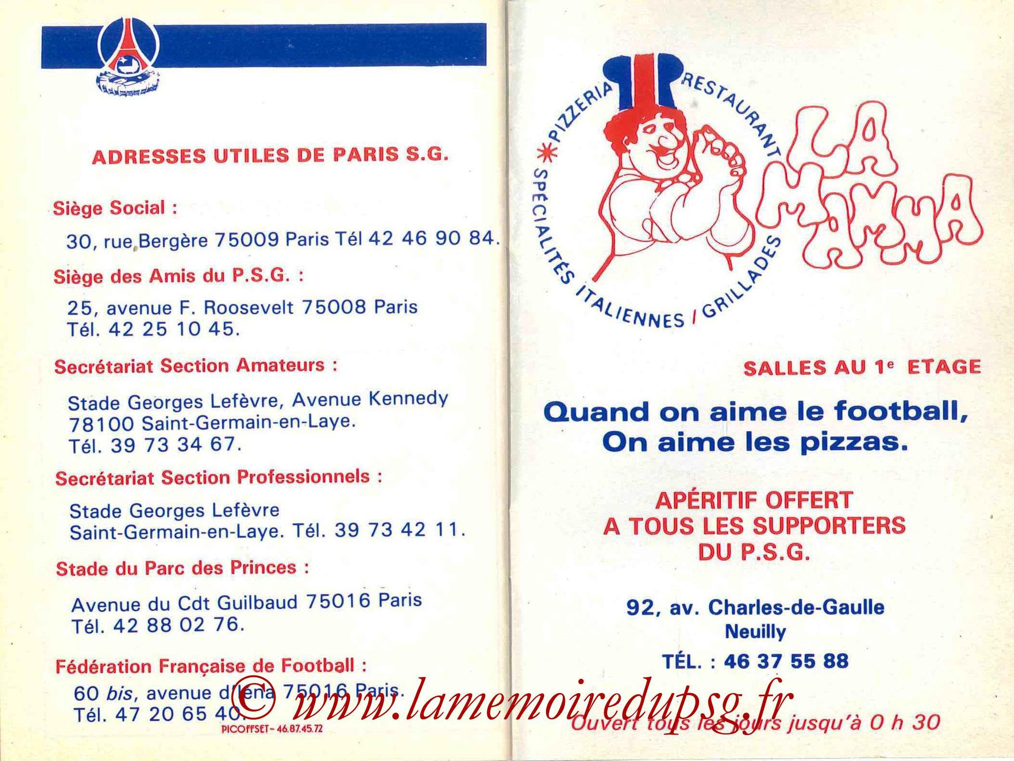 1986-87 - Guide de la Saison PSG - Pages 34 et 35