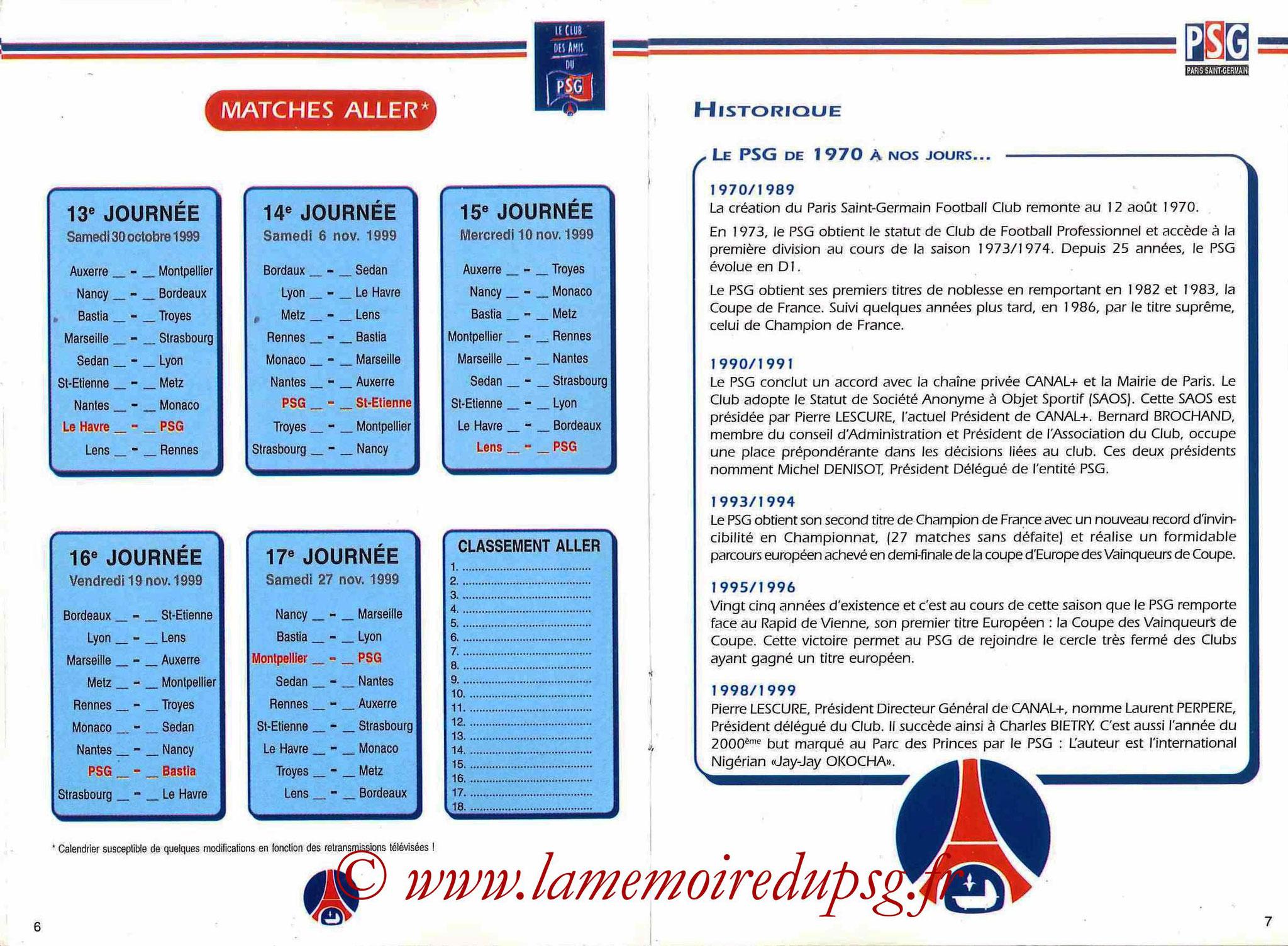 1999-00 - Guide de la Saison PSG - Pages 6 et 7