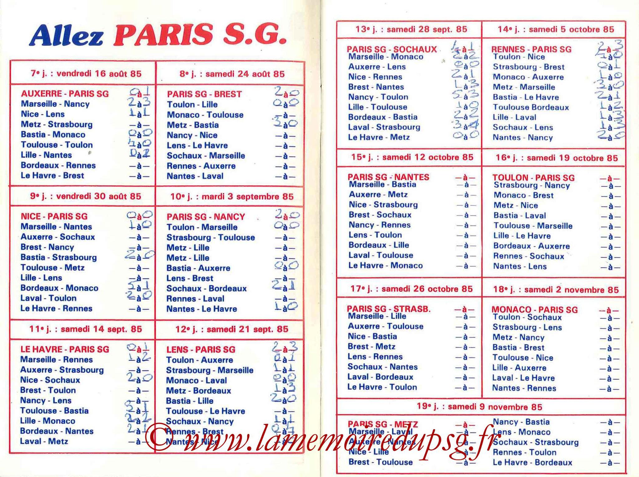 1985-86 - Guide de la Saison PSG - Pages 6 et 7