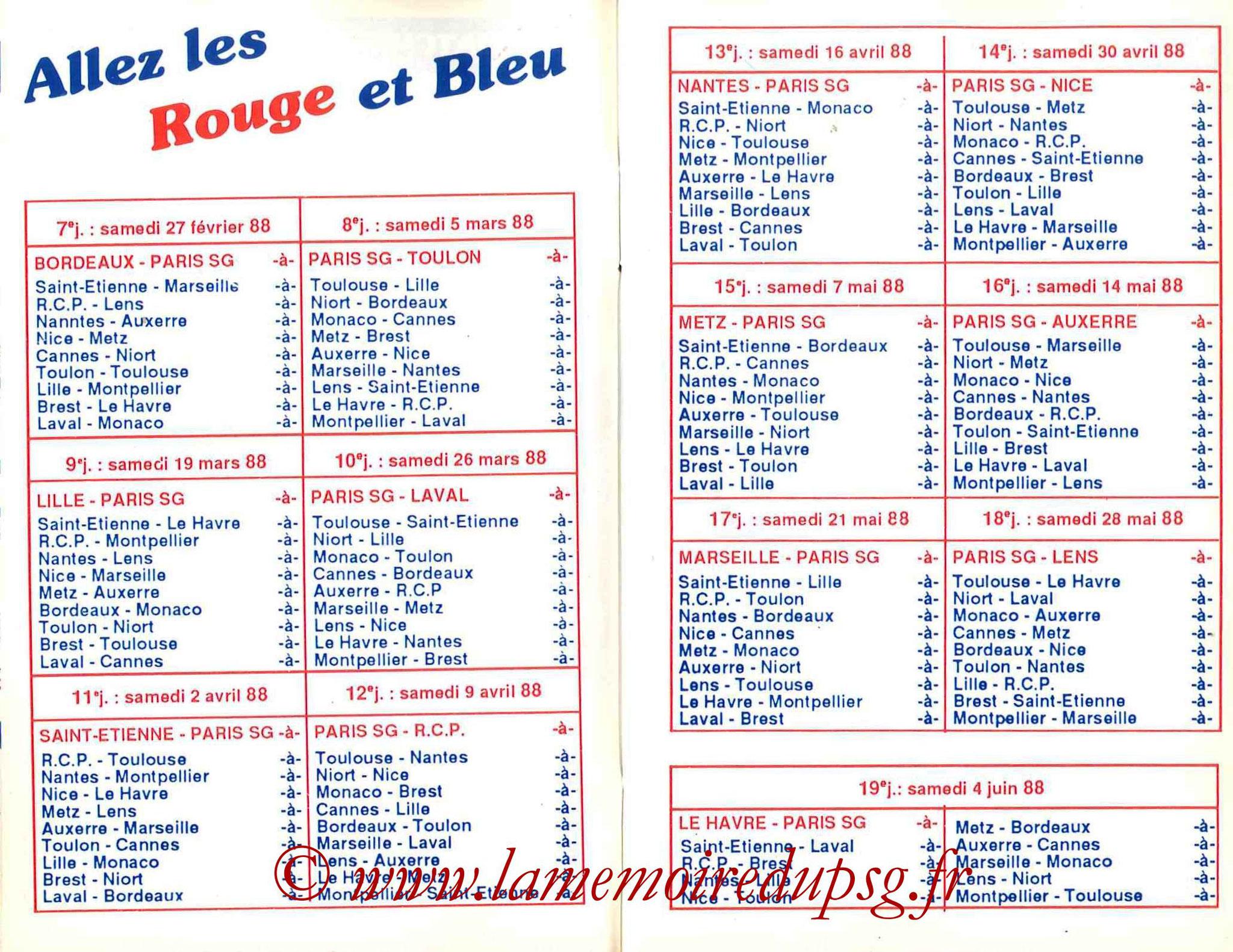 1987-88 - Guide de la Saison PSG - Pages 10 et 11