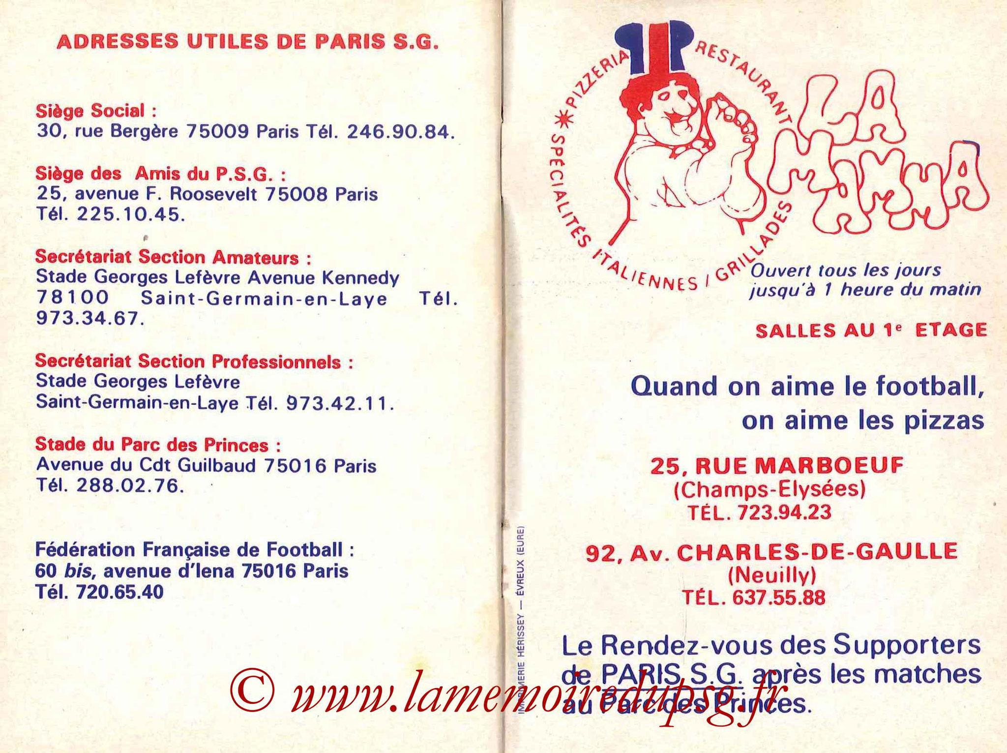 1984-85 - Guide de la Saison PSG - Pages 30 et 31