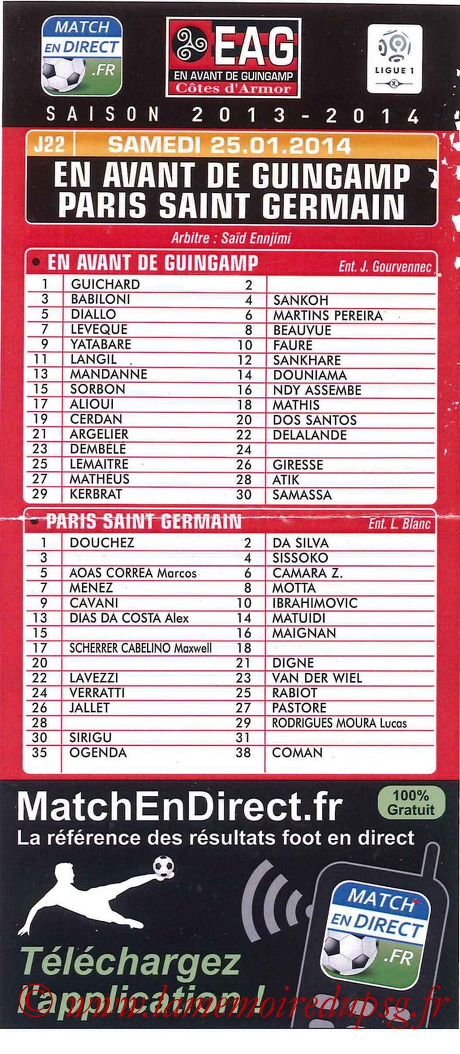2014-01-25  Guingamp-PSG (22ème L1, Programme officiel)
