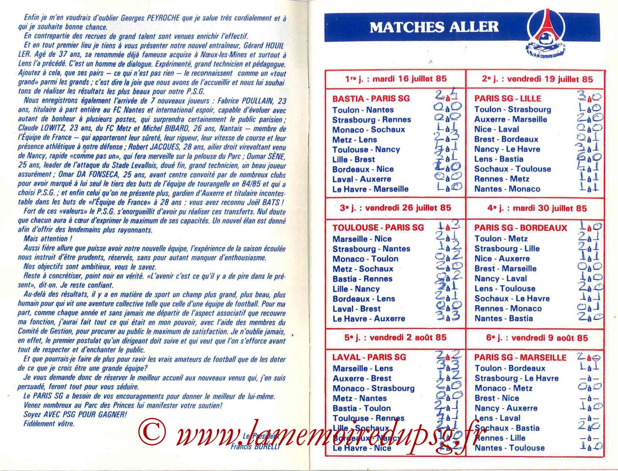 1985-86 - Guide de la Saison PSG - Pages 4 et 5