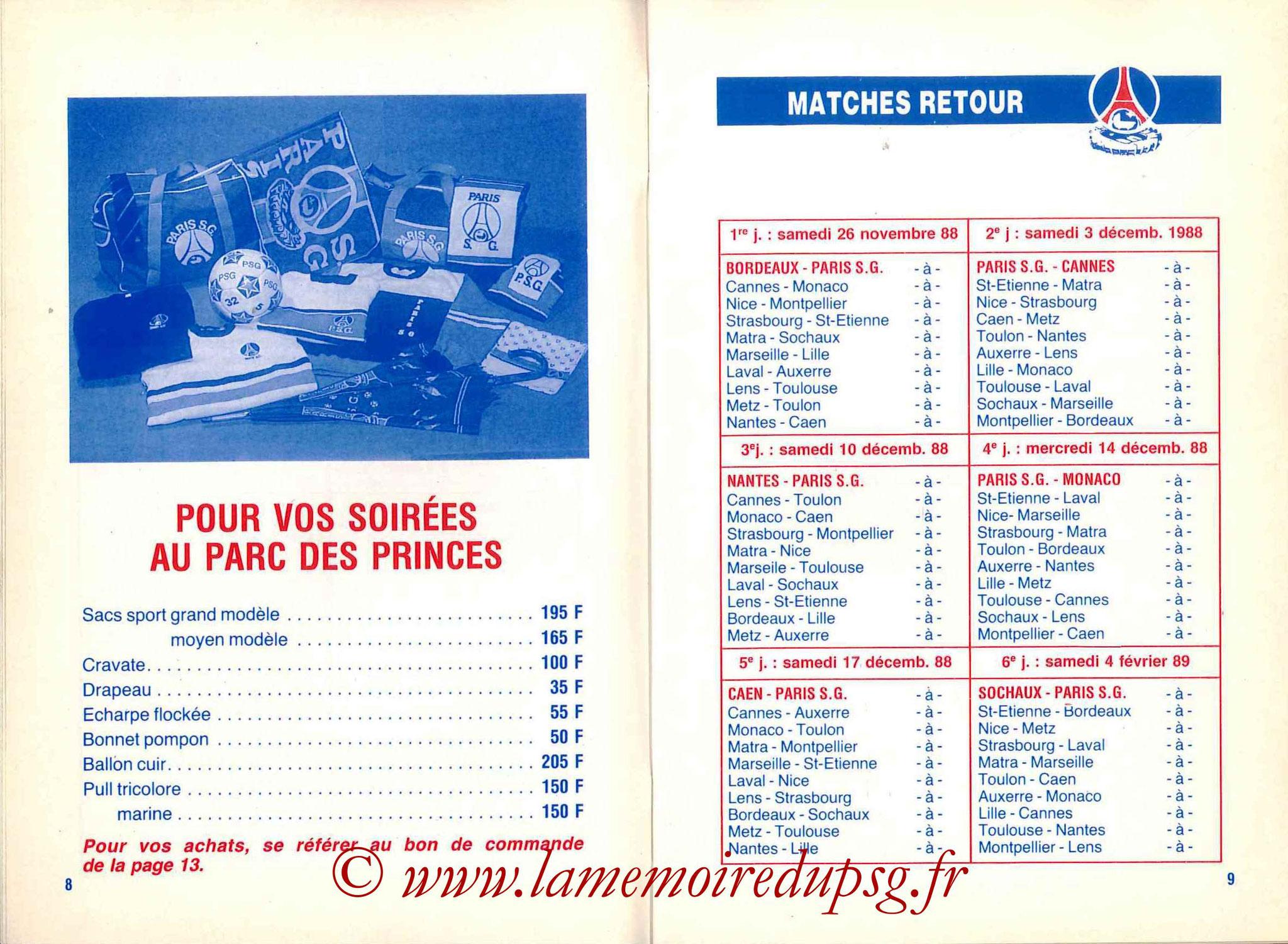 1988-89 - Guide de la Saison PSG - Pages 8 et 9