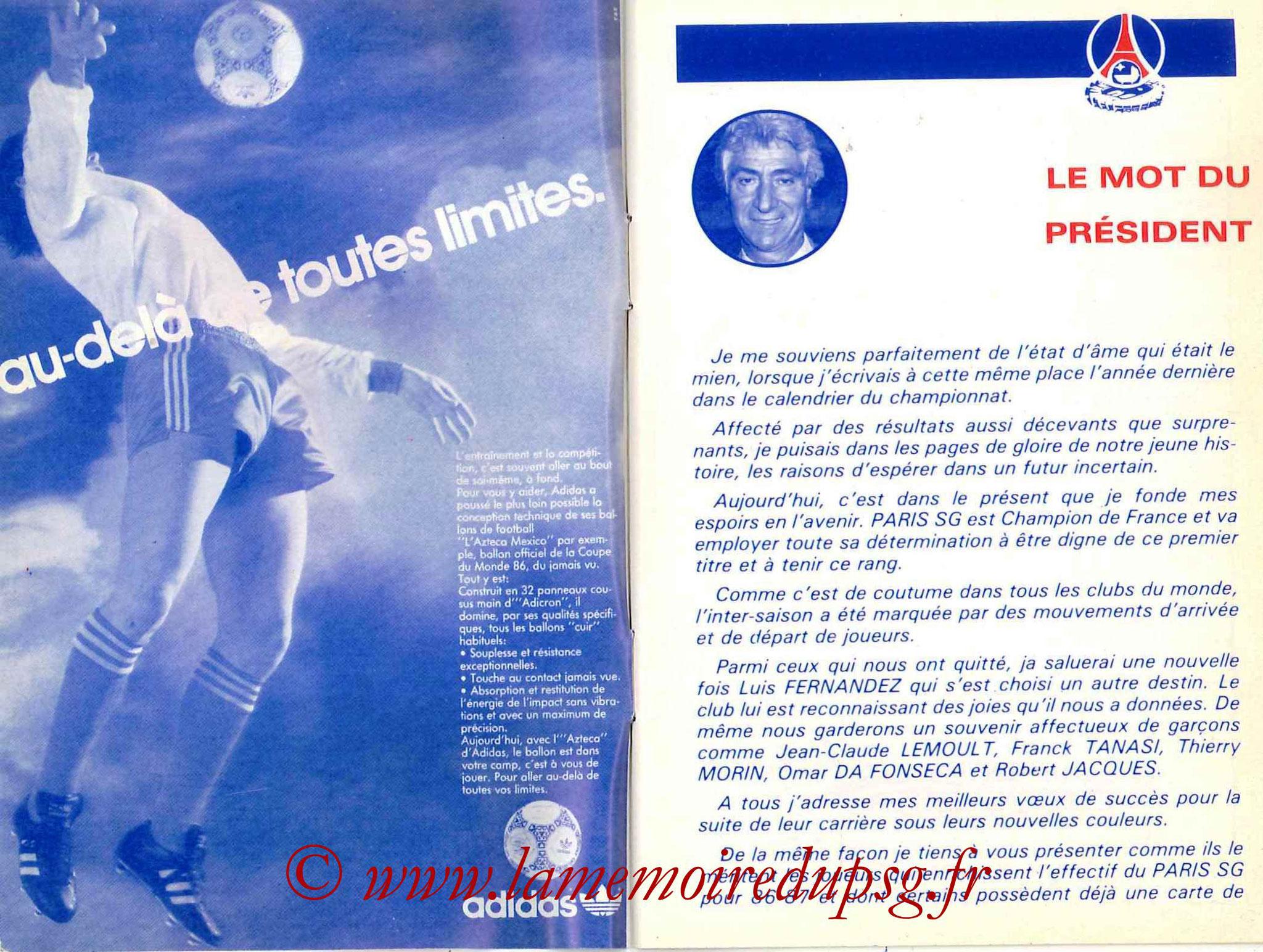 1986-87 - Guide de la Saison PSG - Pages 2 et 3