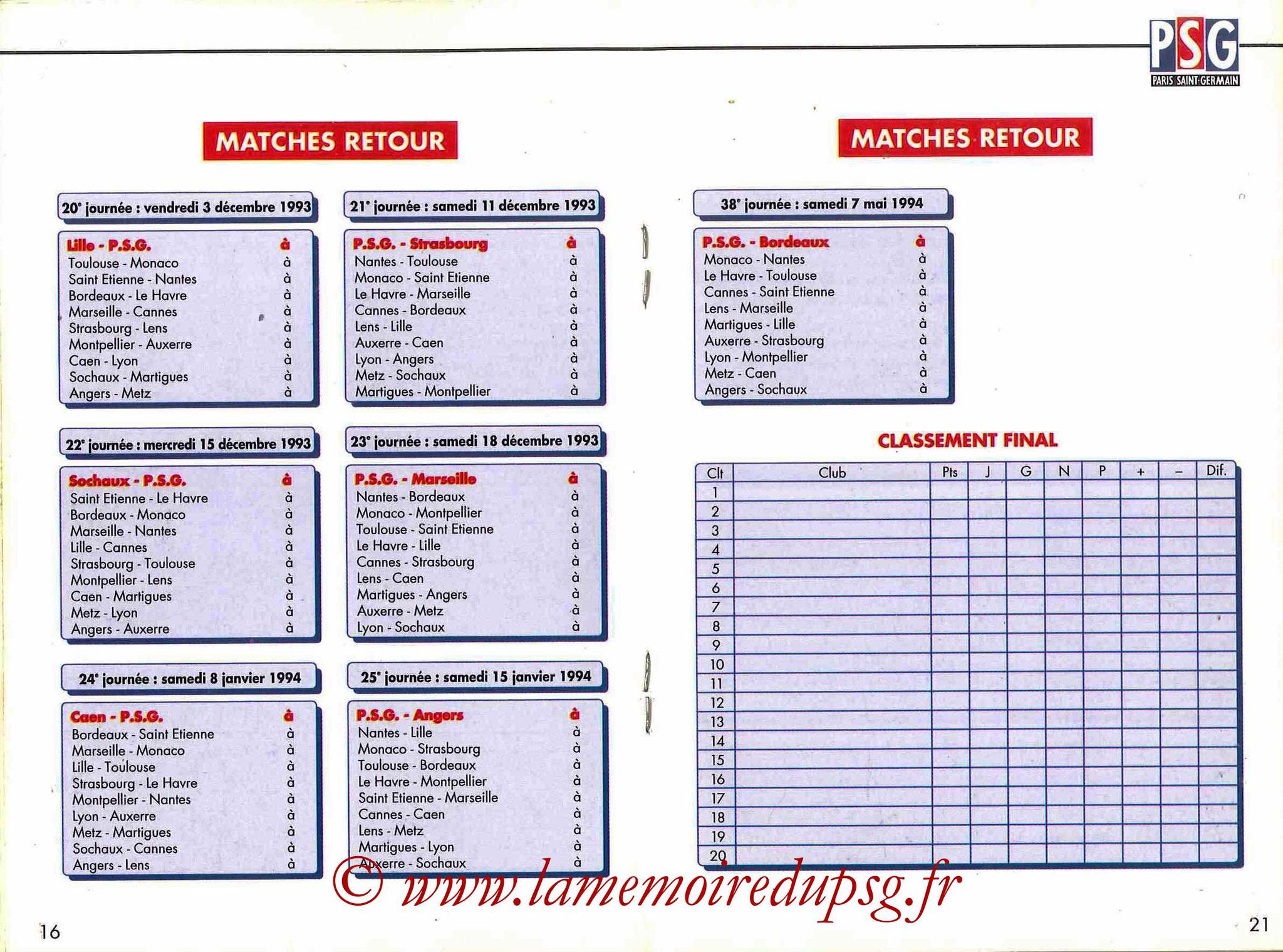 1993-94 - Guide de la Saison PSG - Pages 16 et 17