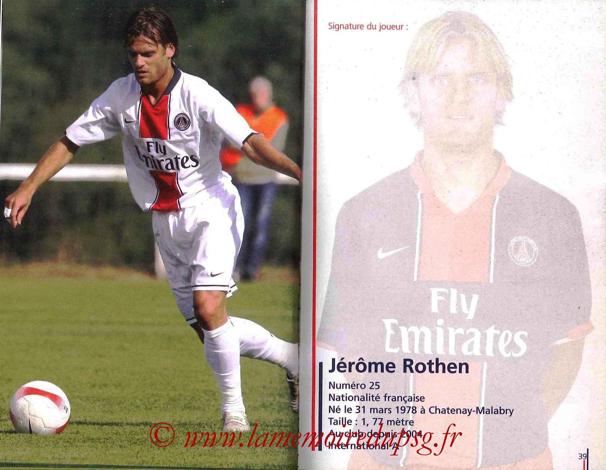 2007-08 - Guide de la Saison PSG - Pages 38 et 39 - Jérôme ROTHEN